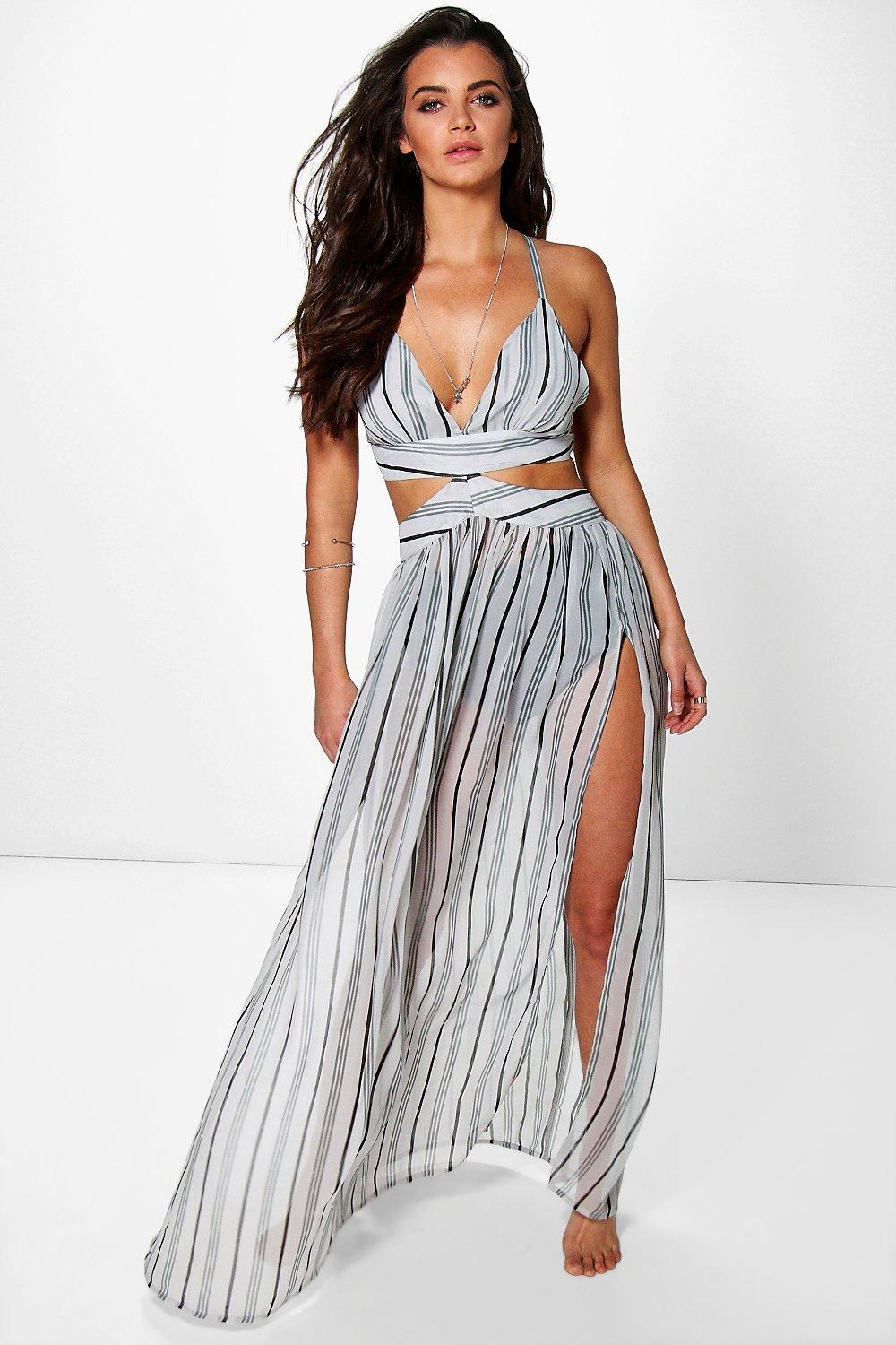 Ruby Strappy Back Stripe Beach Maxi Dress