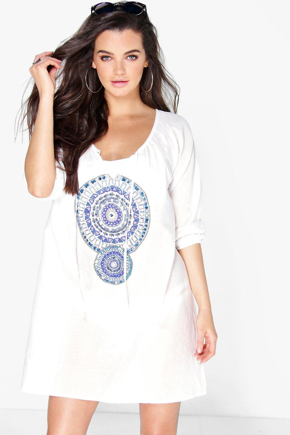 Lucy Long Sleeve Geo Bead Detail Beach Cover Up