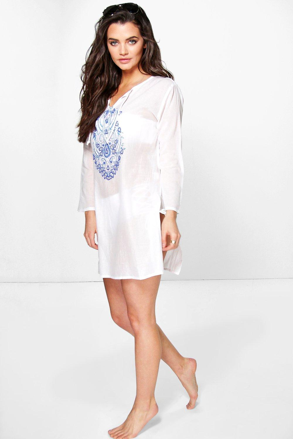 Freya Embroidered Beaded Long Sleeve Beach Cover Up