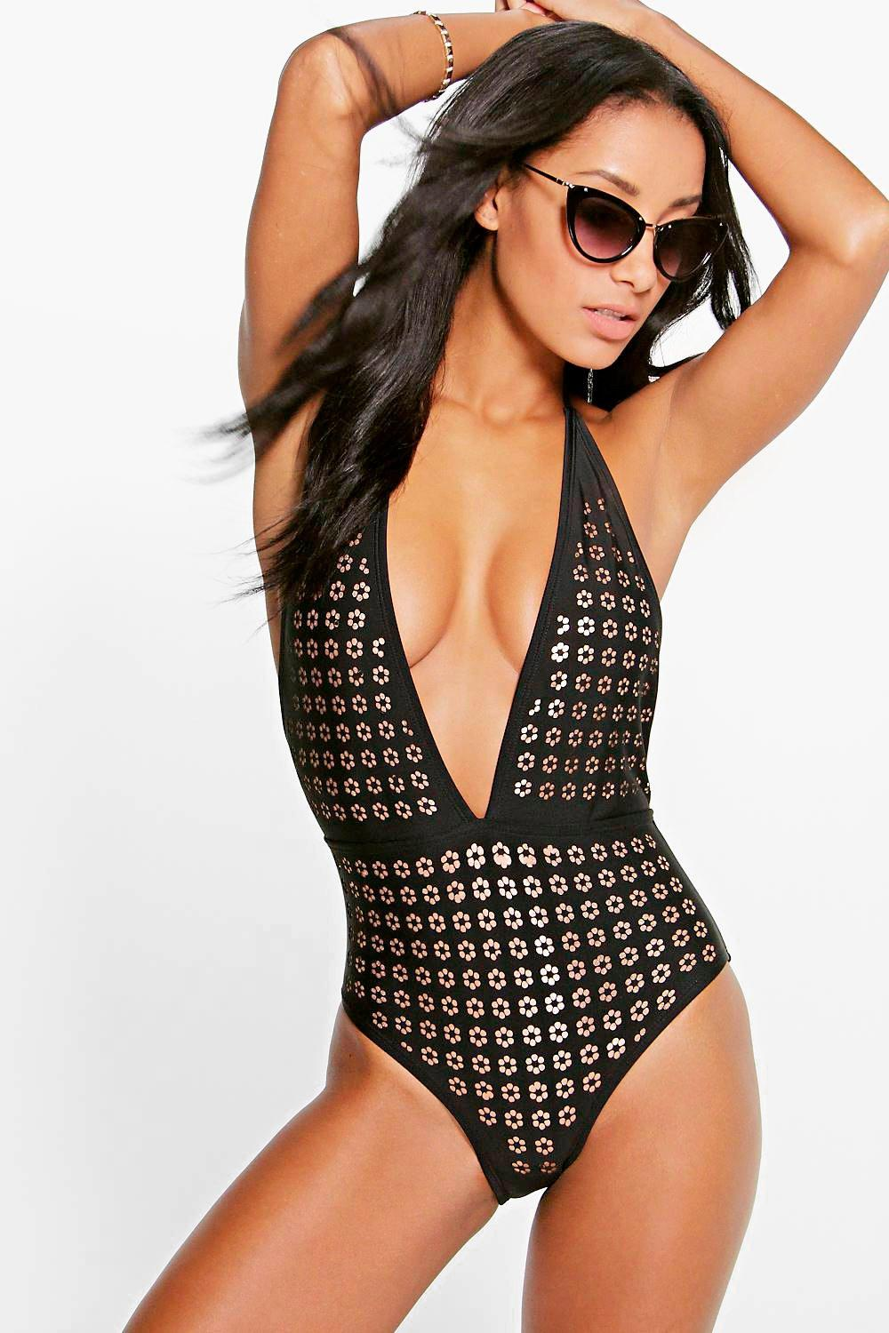 Uruguay Boutique Lazer Cut Plunge Swimsuit