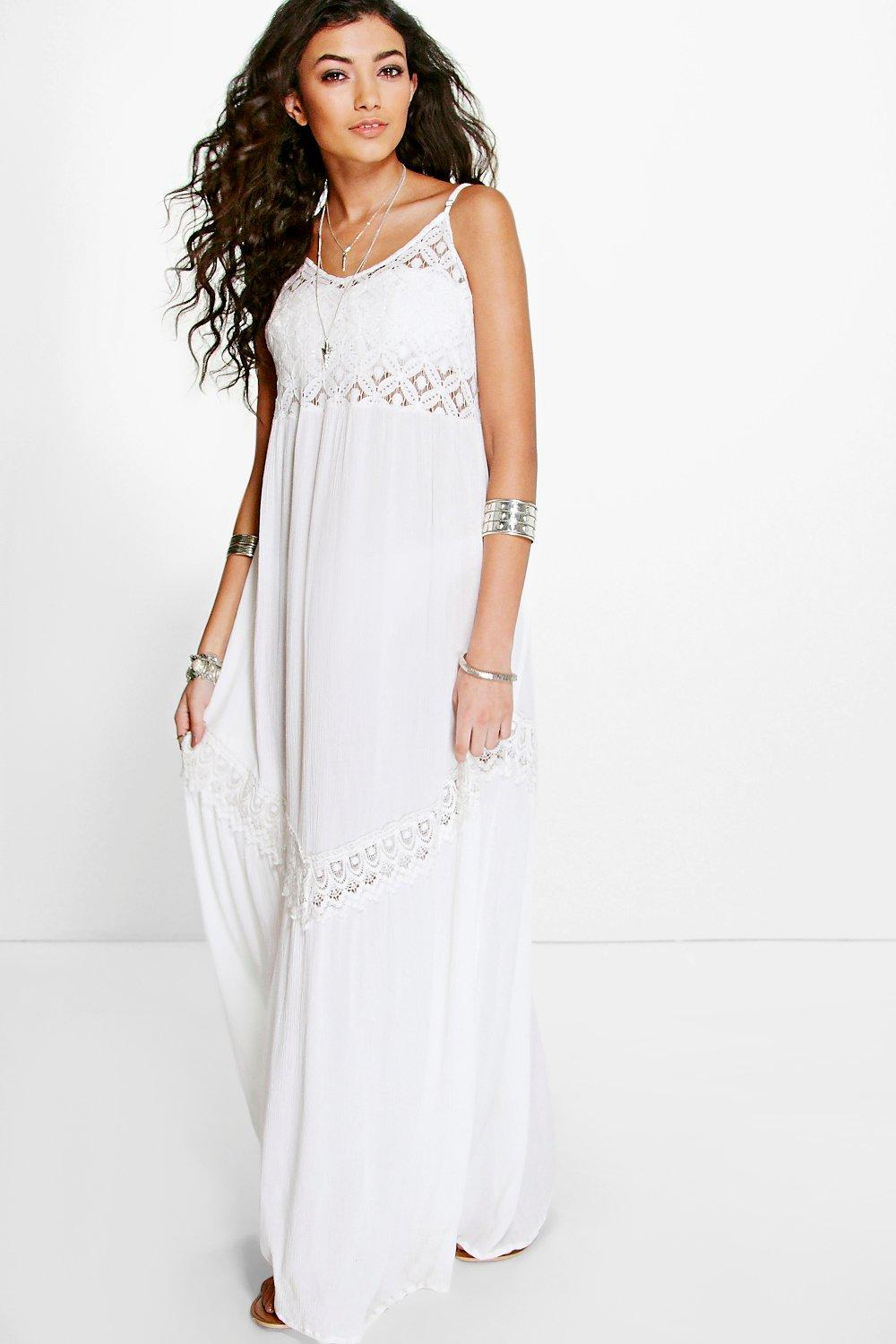 Isla Lace Detail Strappy Maxi Beach Dress