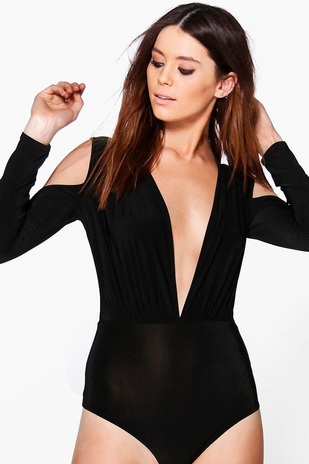 Tall Belle Cold Shoulder Plunge Neck Bodysuit