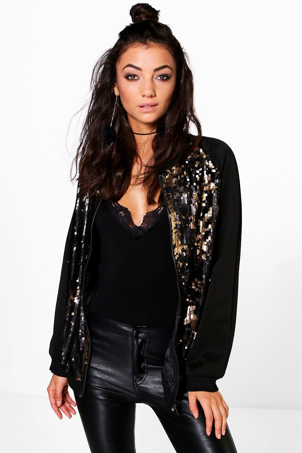 Tall Larisa All Over Sequin Raglan Bomber