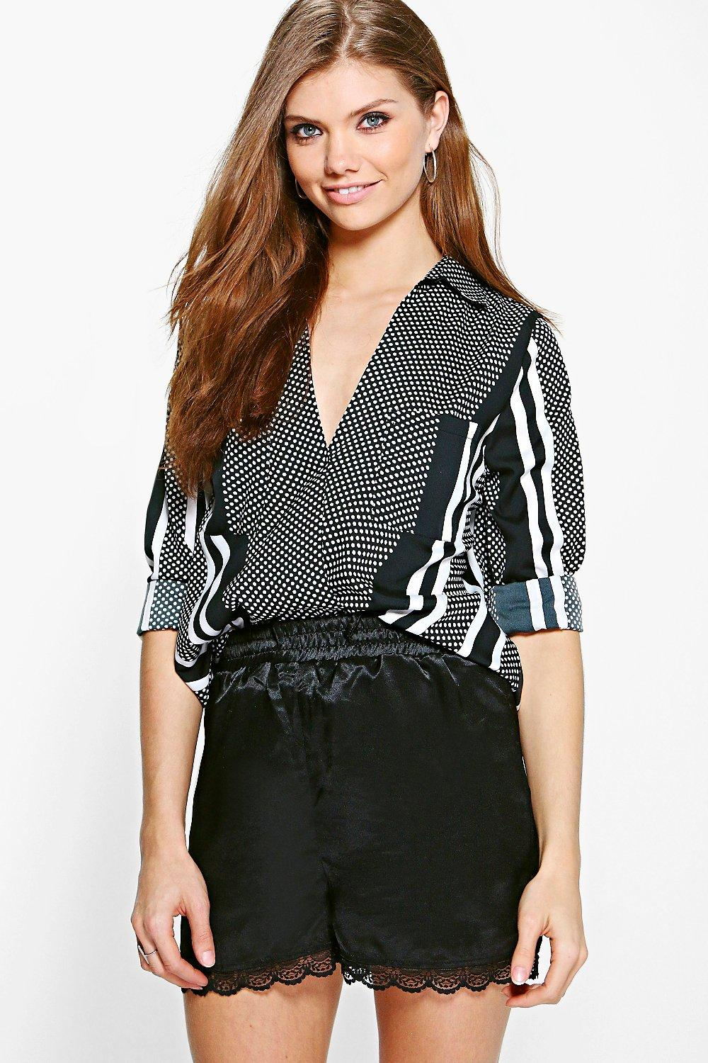 Tall Mixed Print Wrap Front Shirt