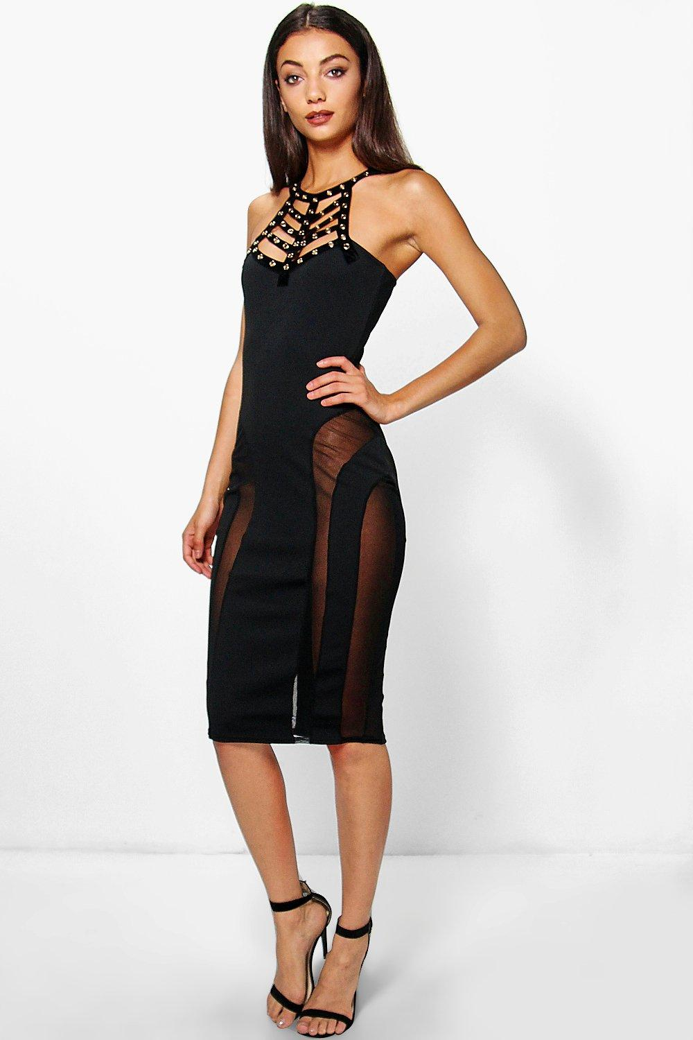 Tall Rubi Metal Neck Detail Mesh Insert Dress