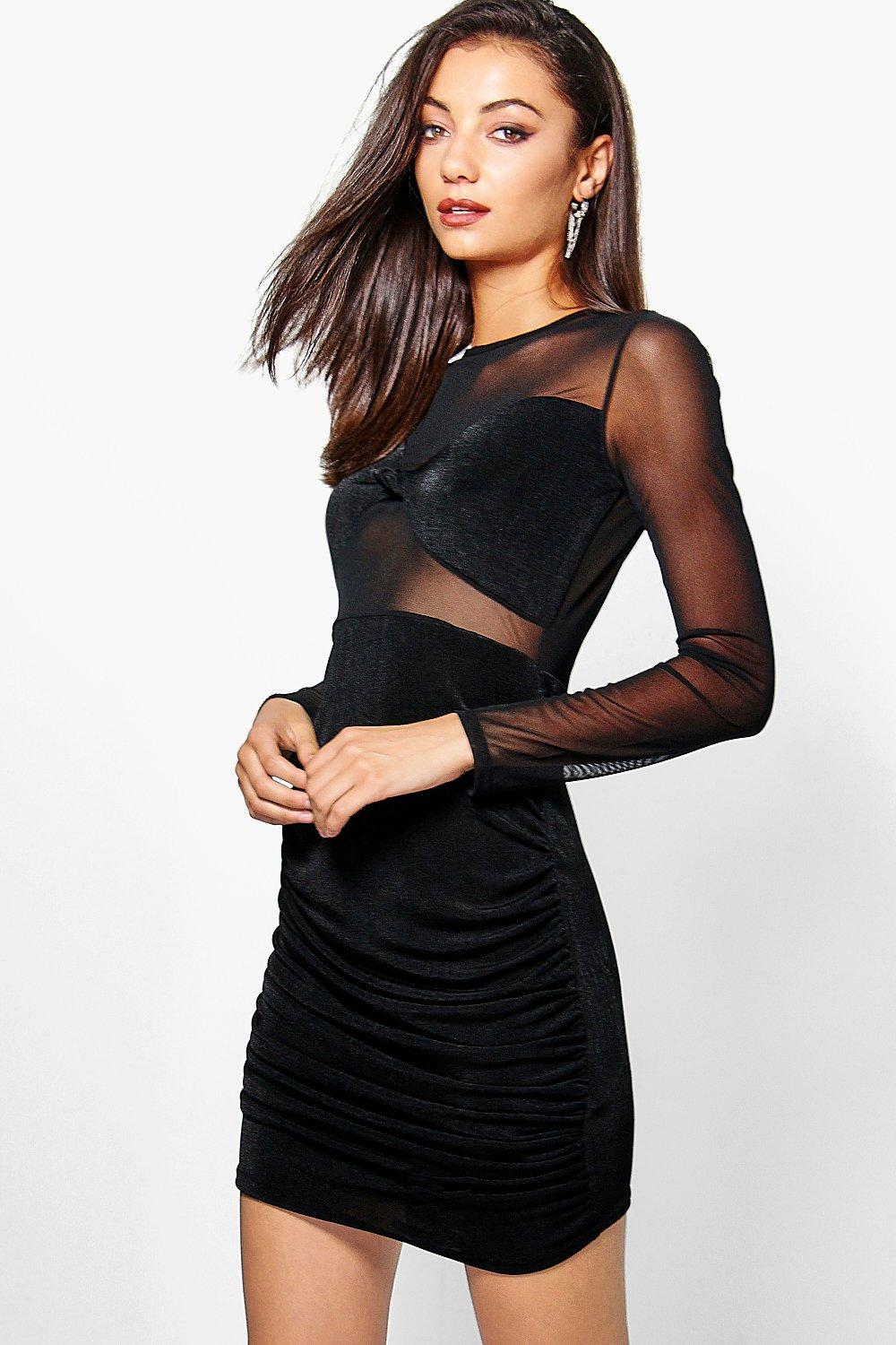 Tall Romi Mesh Insert Midi Dress