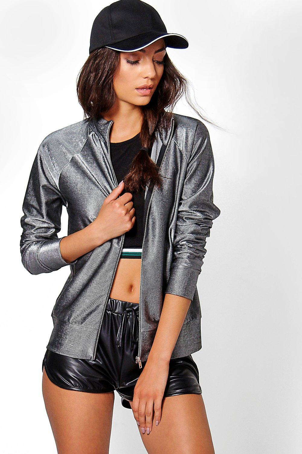 Tall Coralie Metallic Rib Zip Through Jacket