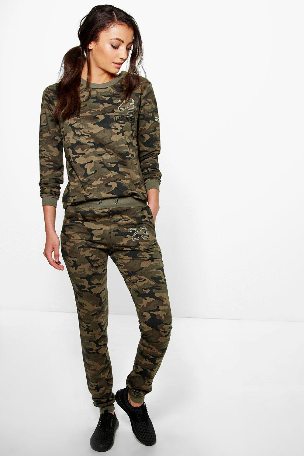 Tall Erika Camo Badge Sweat And Jogger Set