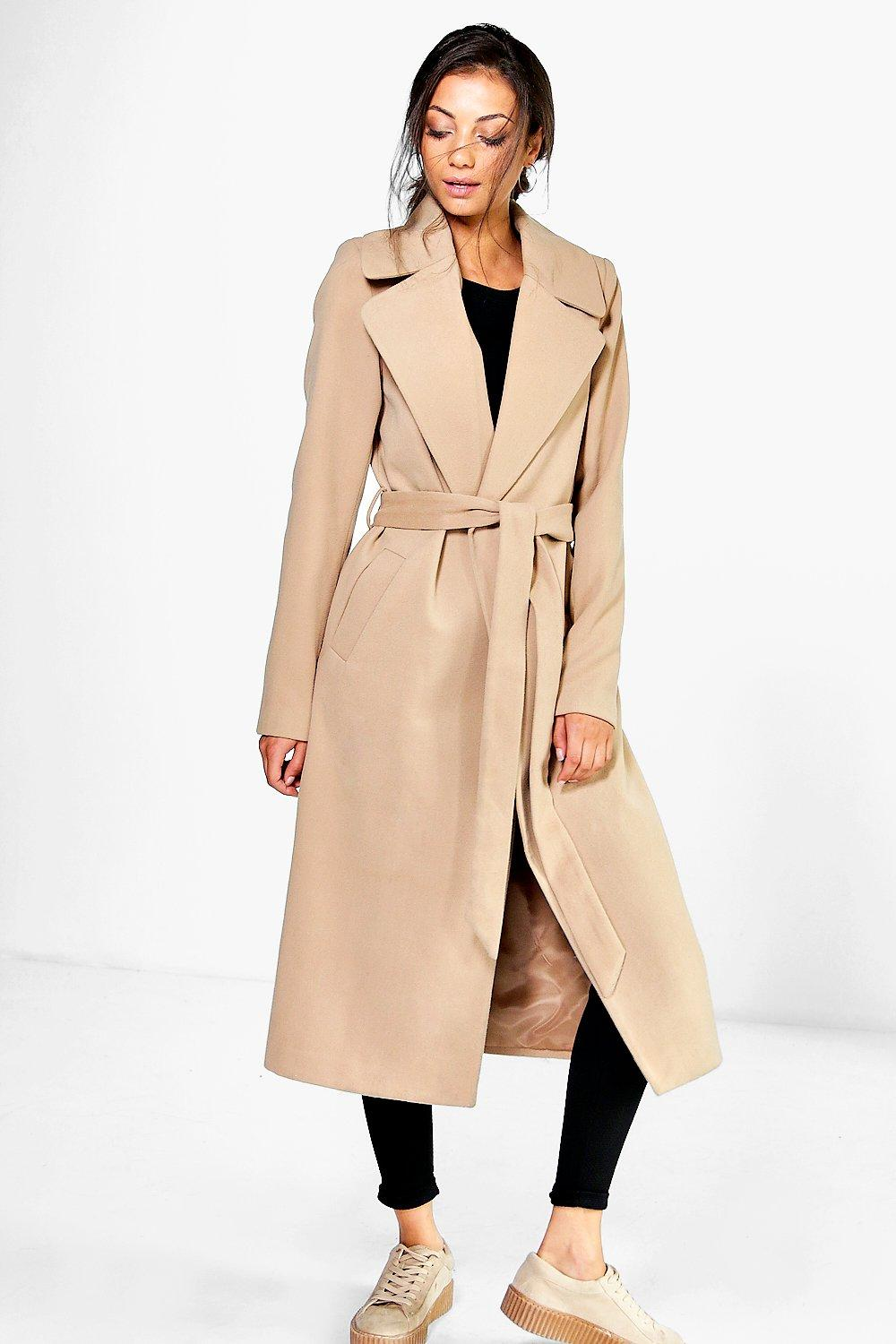 Tall Olivia Oversized Collar Belted Robe Coat