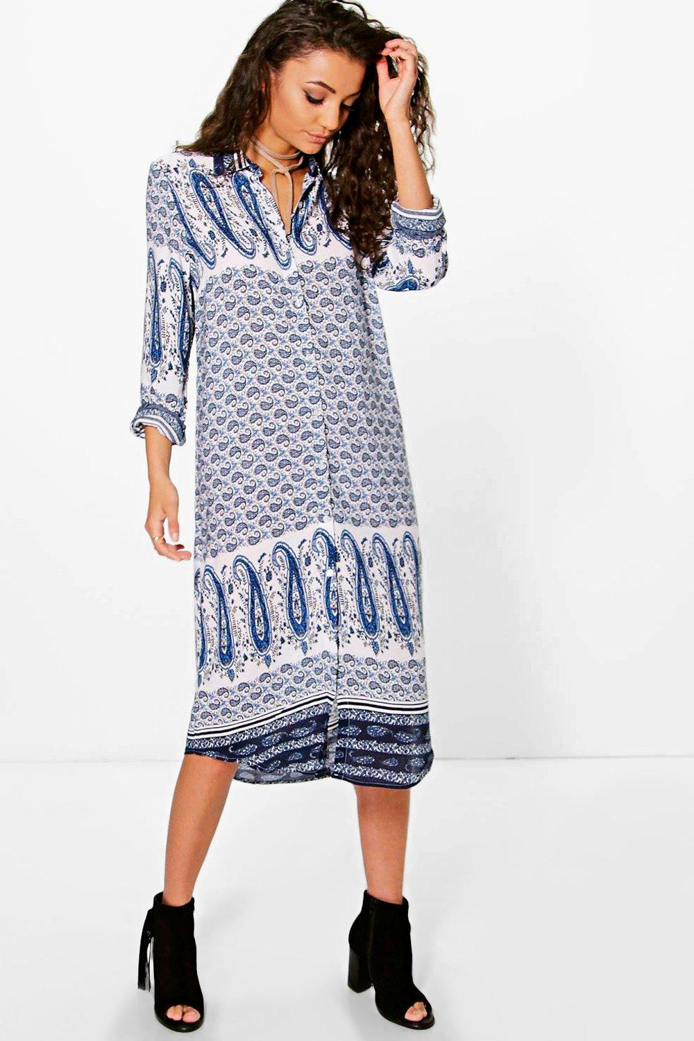 Tall Nelda Paisley Printed Shirt Dress