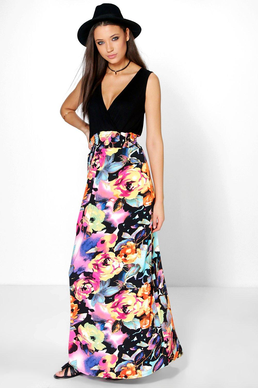Tall Millie Rose Print Maxi Dress at boohoo.com