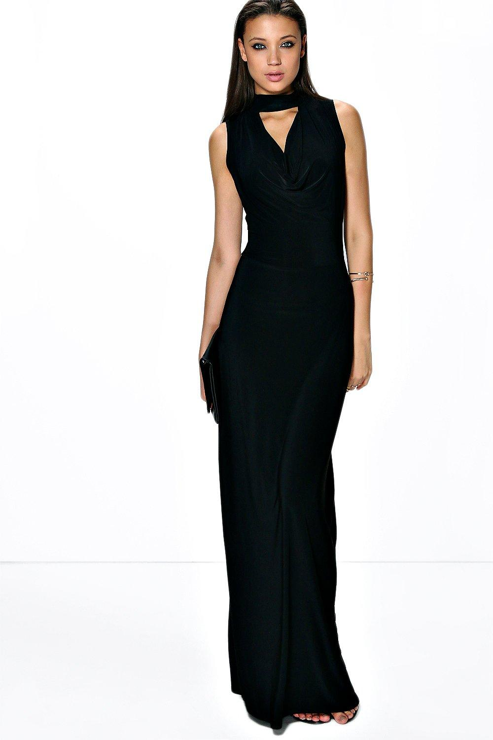 Tall Flo High Open Neck Maxi Dress at boohoo.com