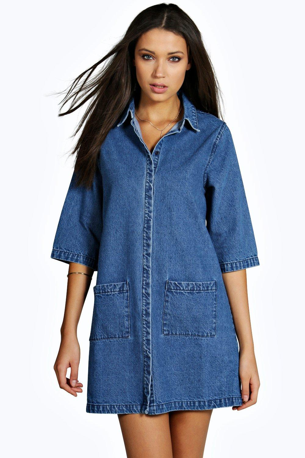 Tall Cleo Patch Pocket Denim Dress