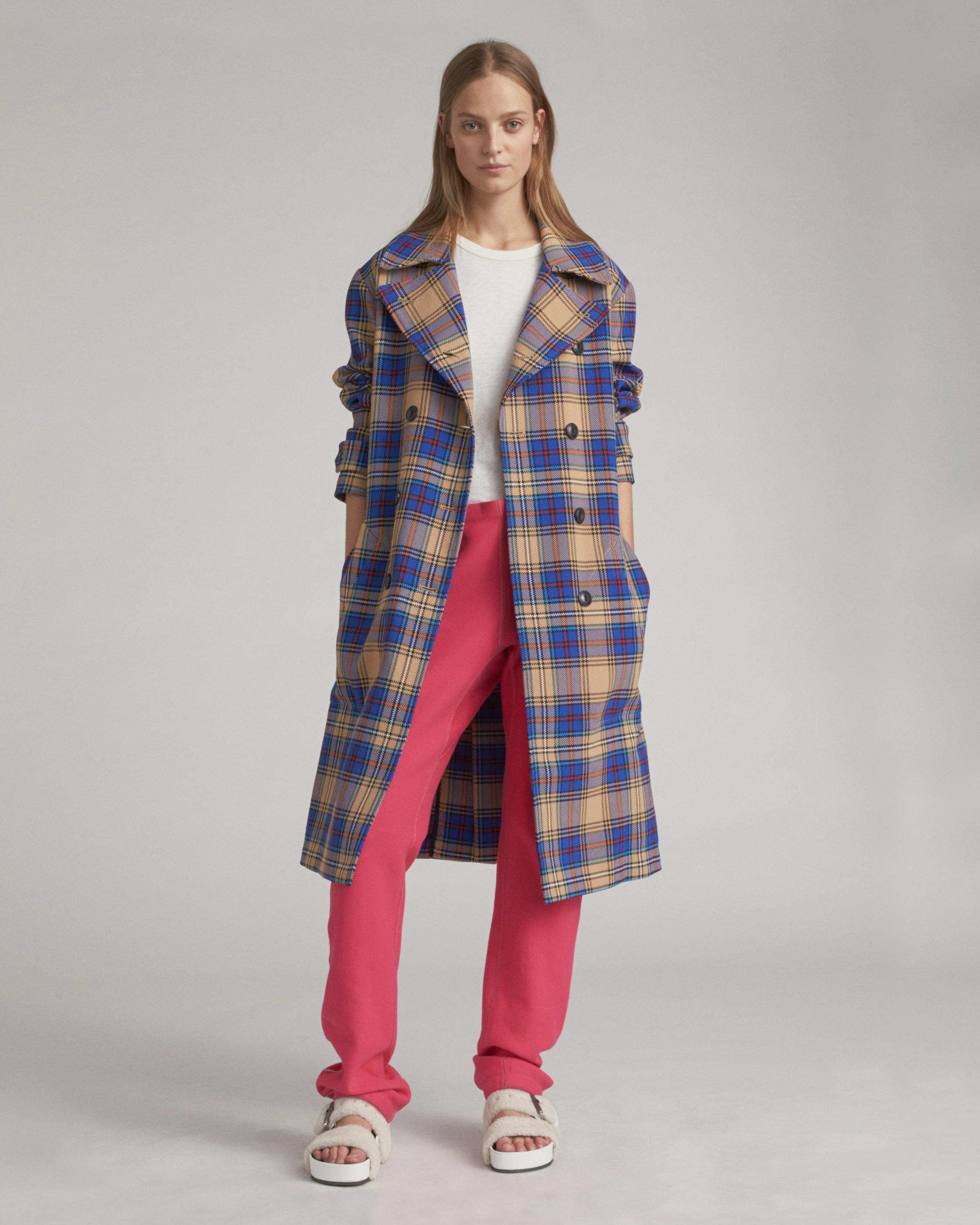Ace plaid trench coat