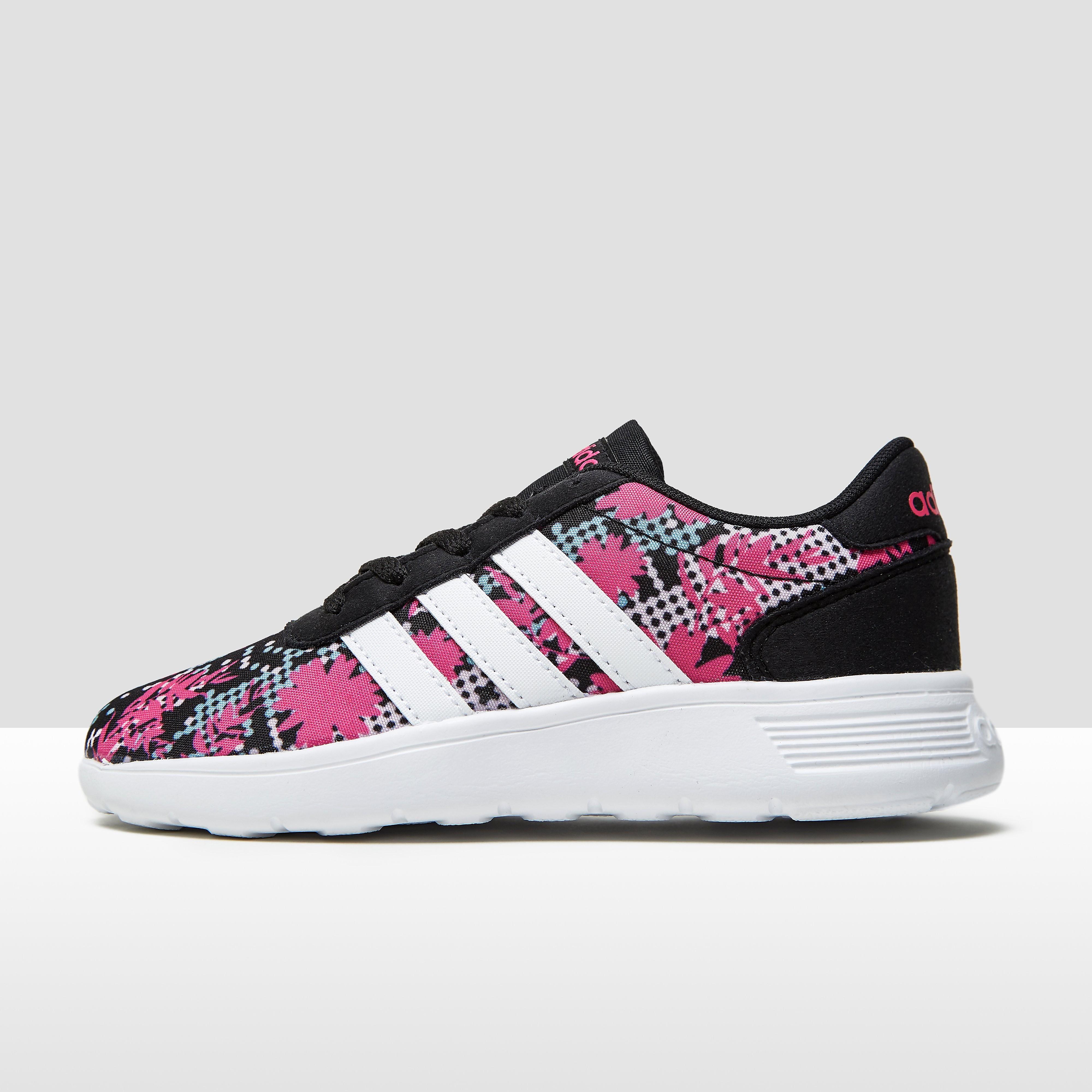 Adidas Lite Racer kindersneaker zwart, roze en print