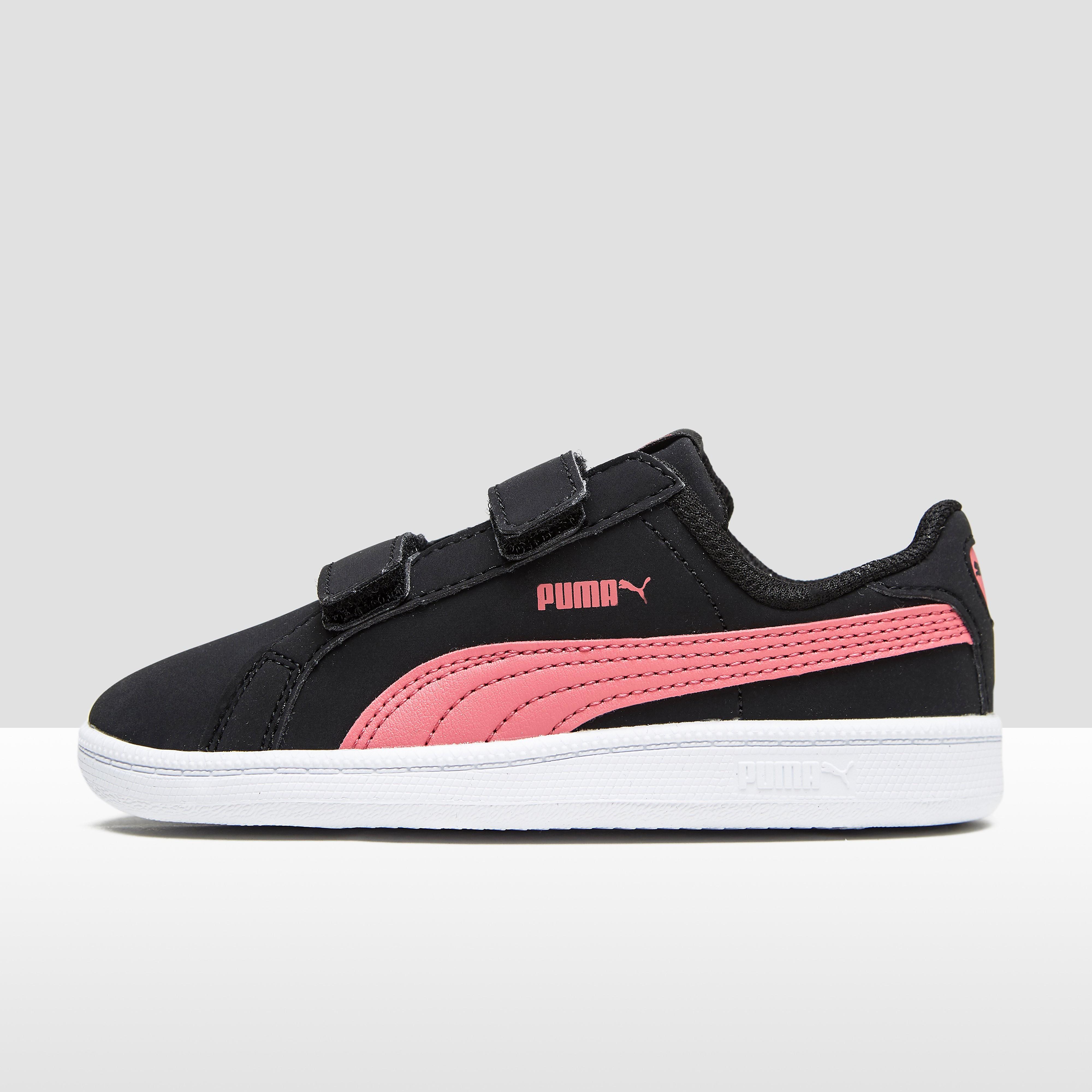 Puma Smash babysneaker zwart en roze