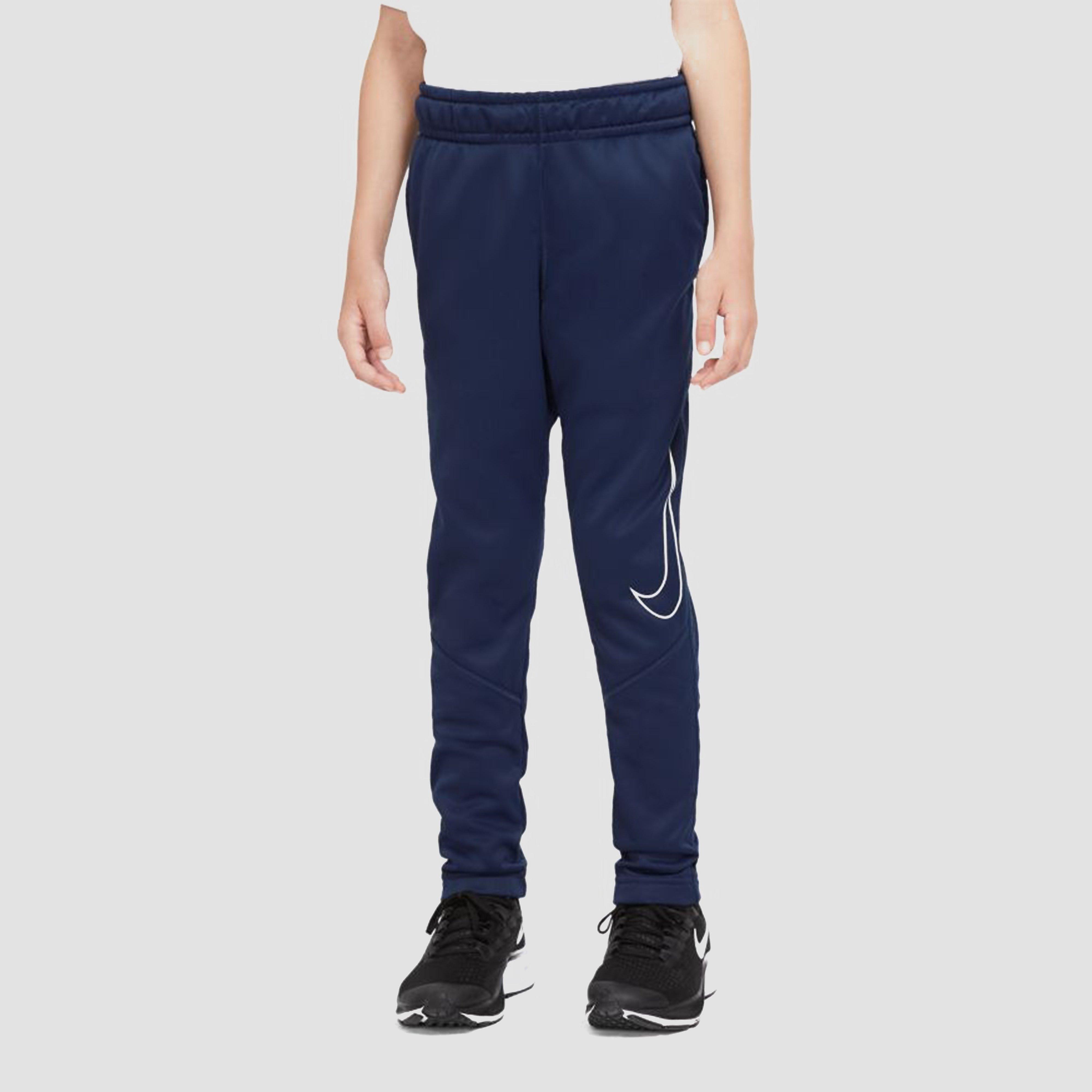 NIKE Therma graphic tapered sportbroek blauw/oranje kinderen Kinderen