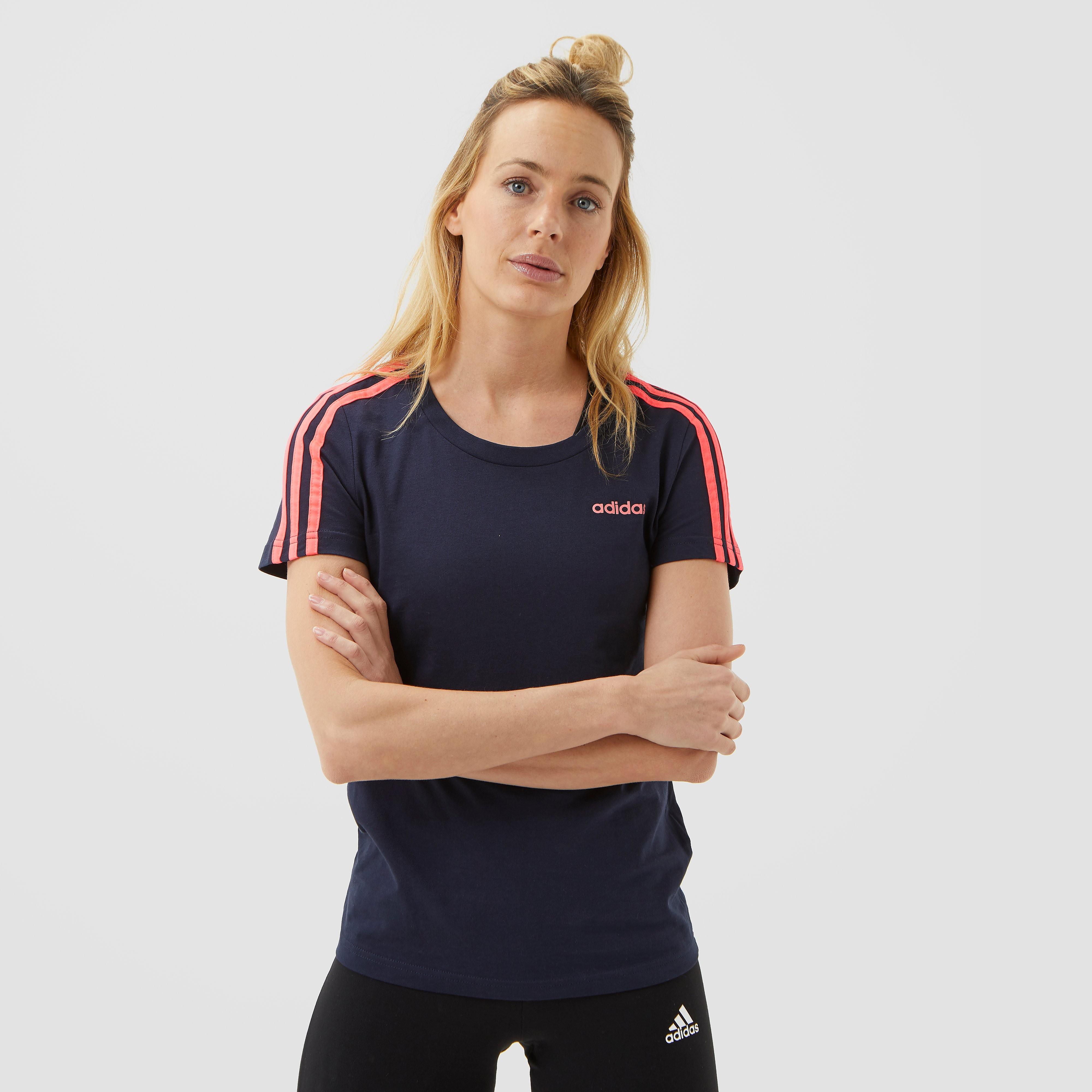adidas 3-stripes slim shirt blauw/roze dames Dames