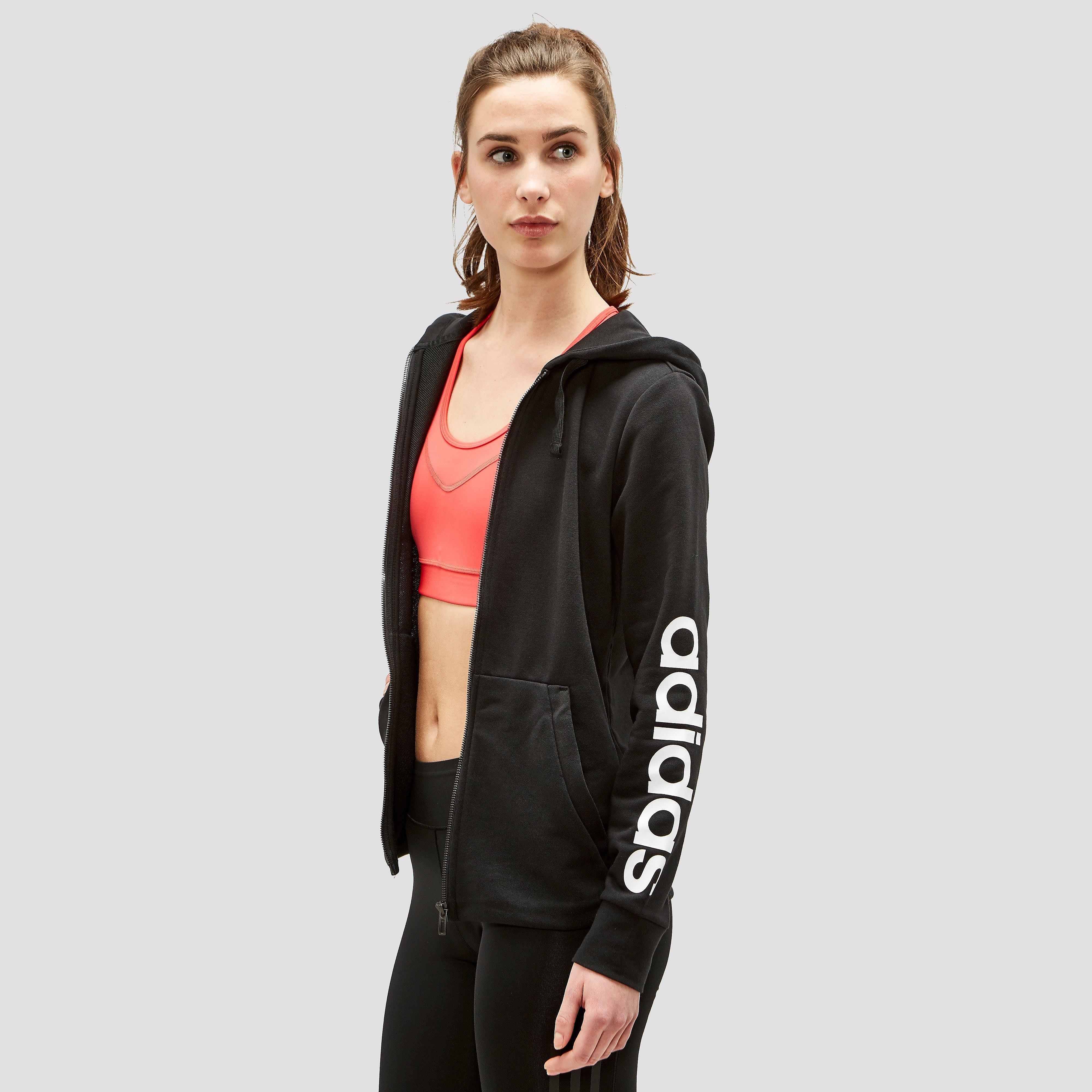 Adidas Essentials Linear Full-Zip women's training hoodie (black-white) M