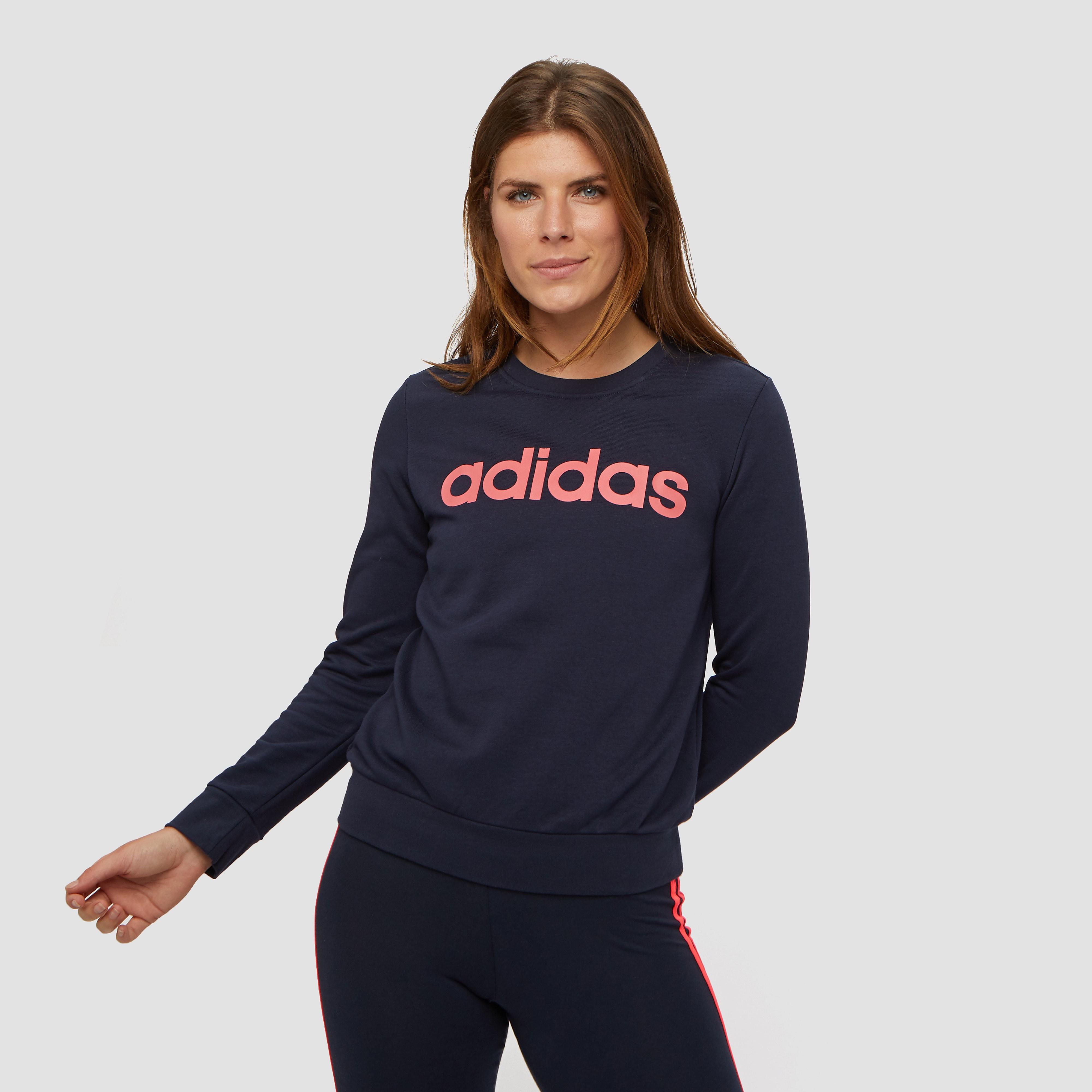 adidas Essentials linear sweater blauw/roze dames Dames