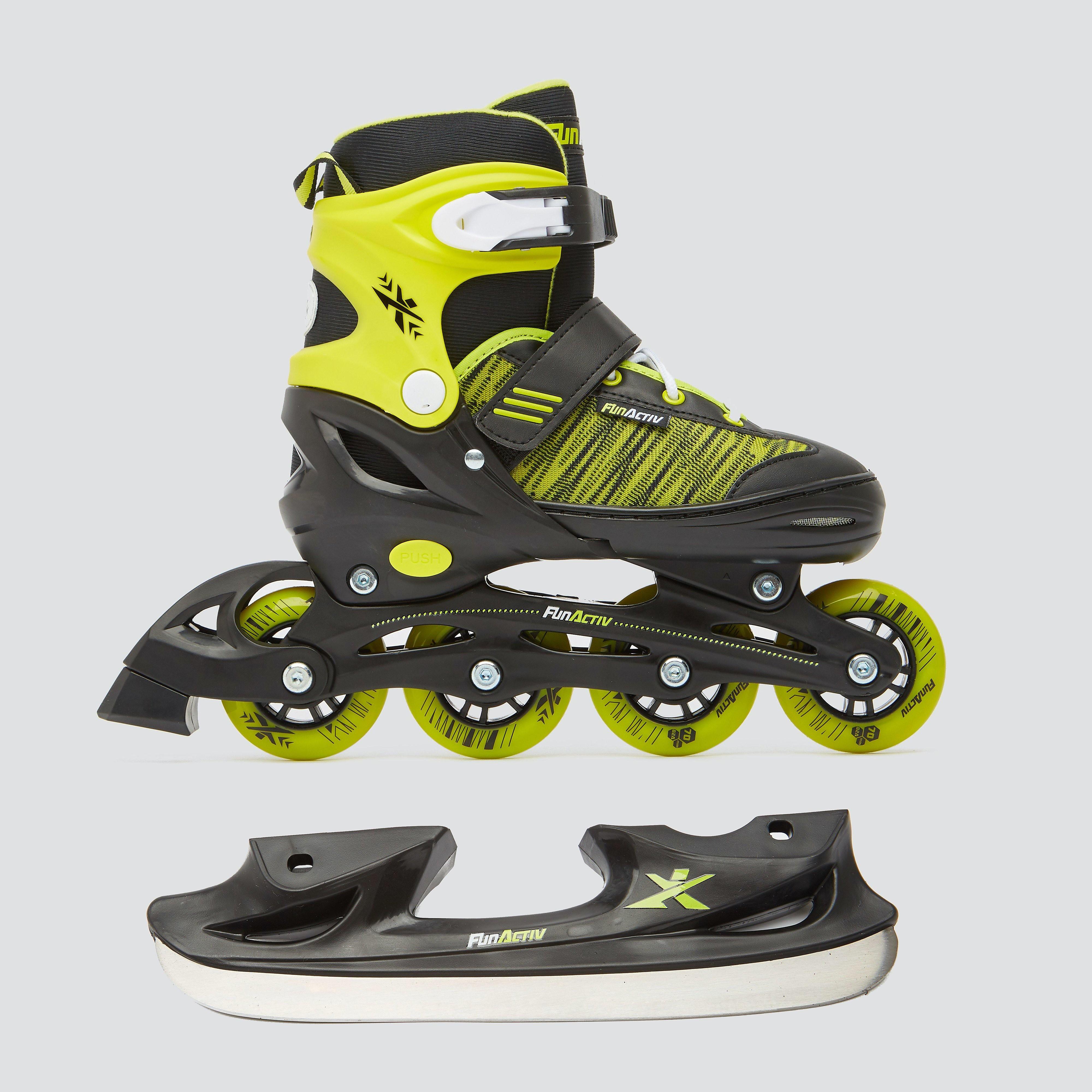FUN-ACTIVE Orin duo schaatsen/skeelers zwart/geel kinderen Kinderen