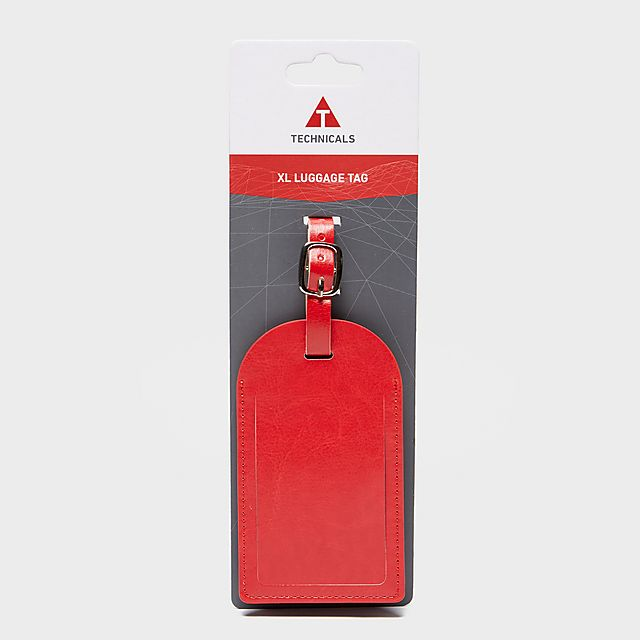 Technicals Extra Large Leather Luggage Tag, RED/RED