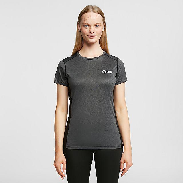 North Ridge Womens Resistance Short Sleeve Baselayer, Black/Black