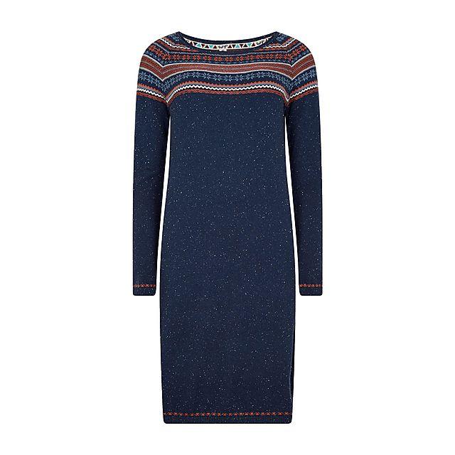 Weird Fish Women's Sebah Fair Isle Knitted Dress, NAVY/NAVY