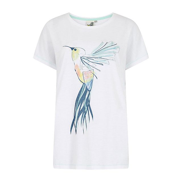Weird Fish Women's Hummingbird T-Shirt, WHT/WHT