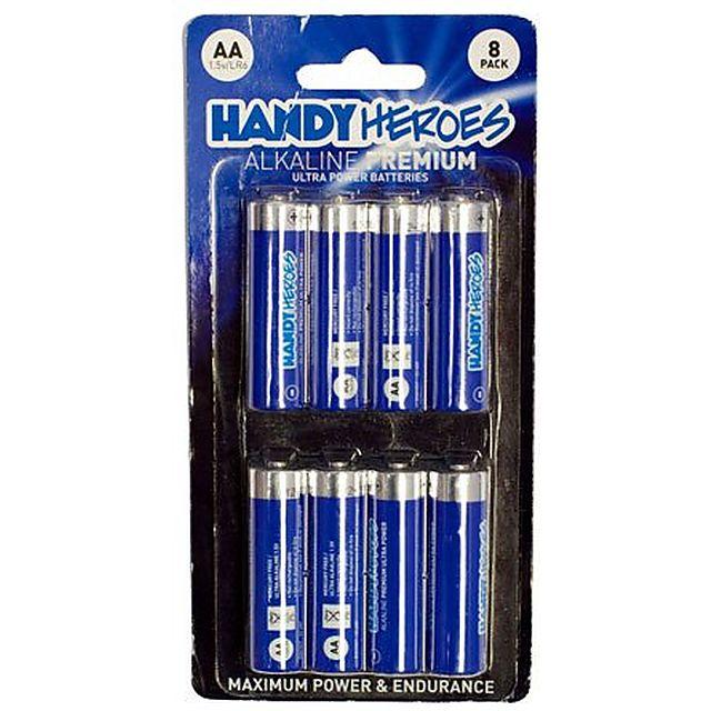 Image of HANDY HEROES AA Alkaline Premium Ultra Power Batteries (8 pack)