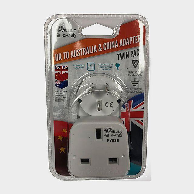 Image of BOYZ TOYS 2pk Travel Adaptor - UK to Australia & China, WHITE
