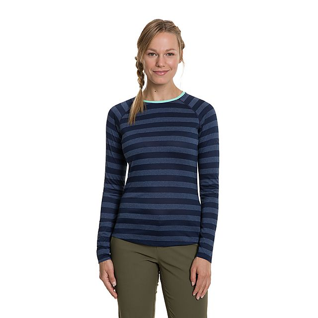 Berghaus Women's Striped Long Sleeve 2.0 T-Shirt, Navy Blue/NVY