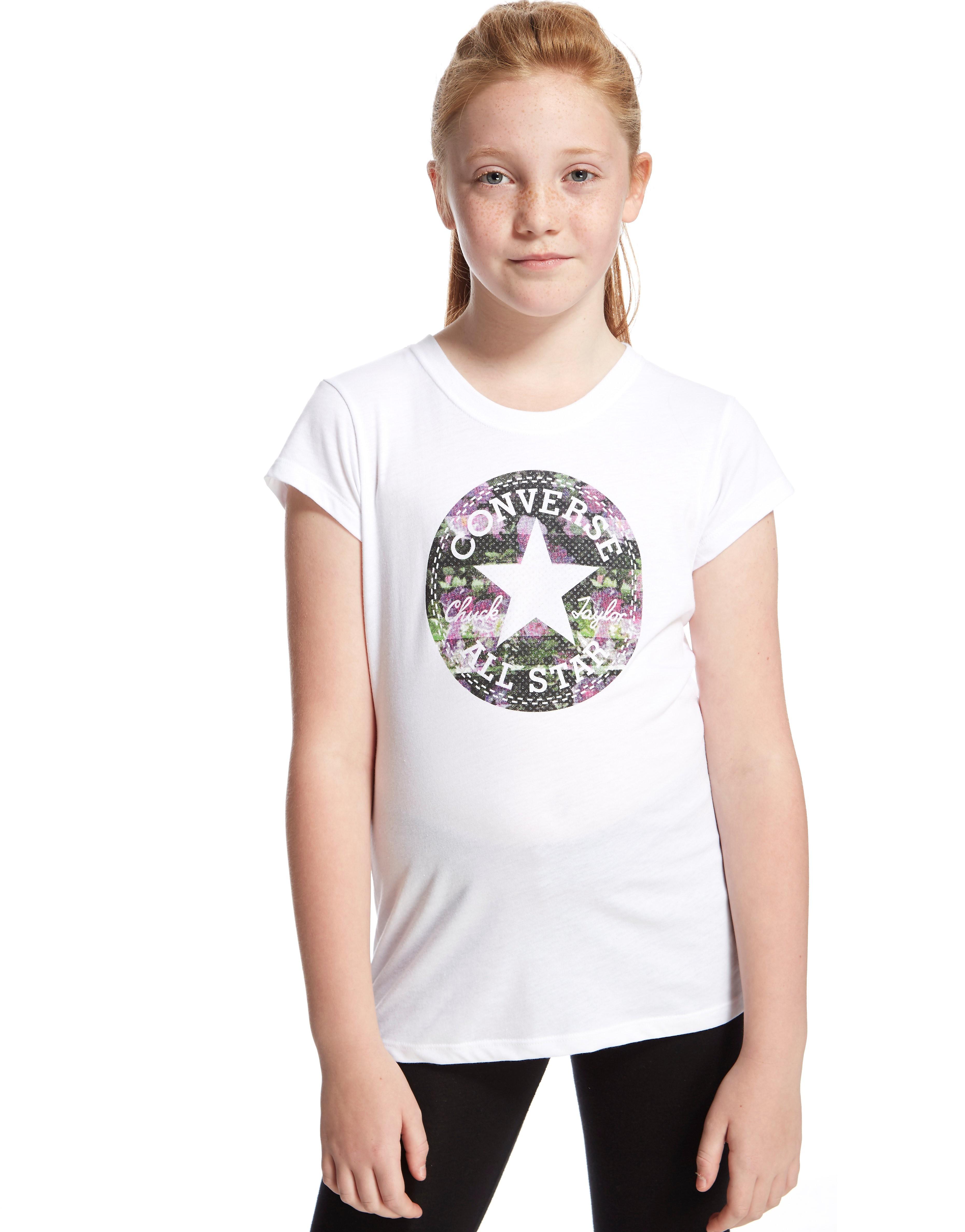 Converse Chuck Rose T-Shirt Junior - White/Purple - Kids, White/Purple