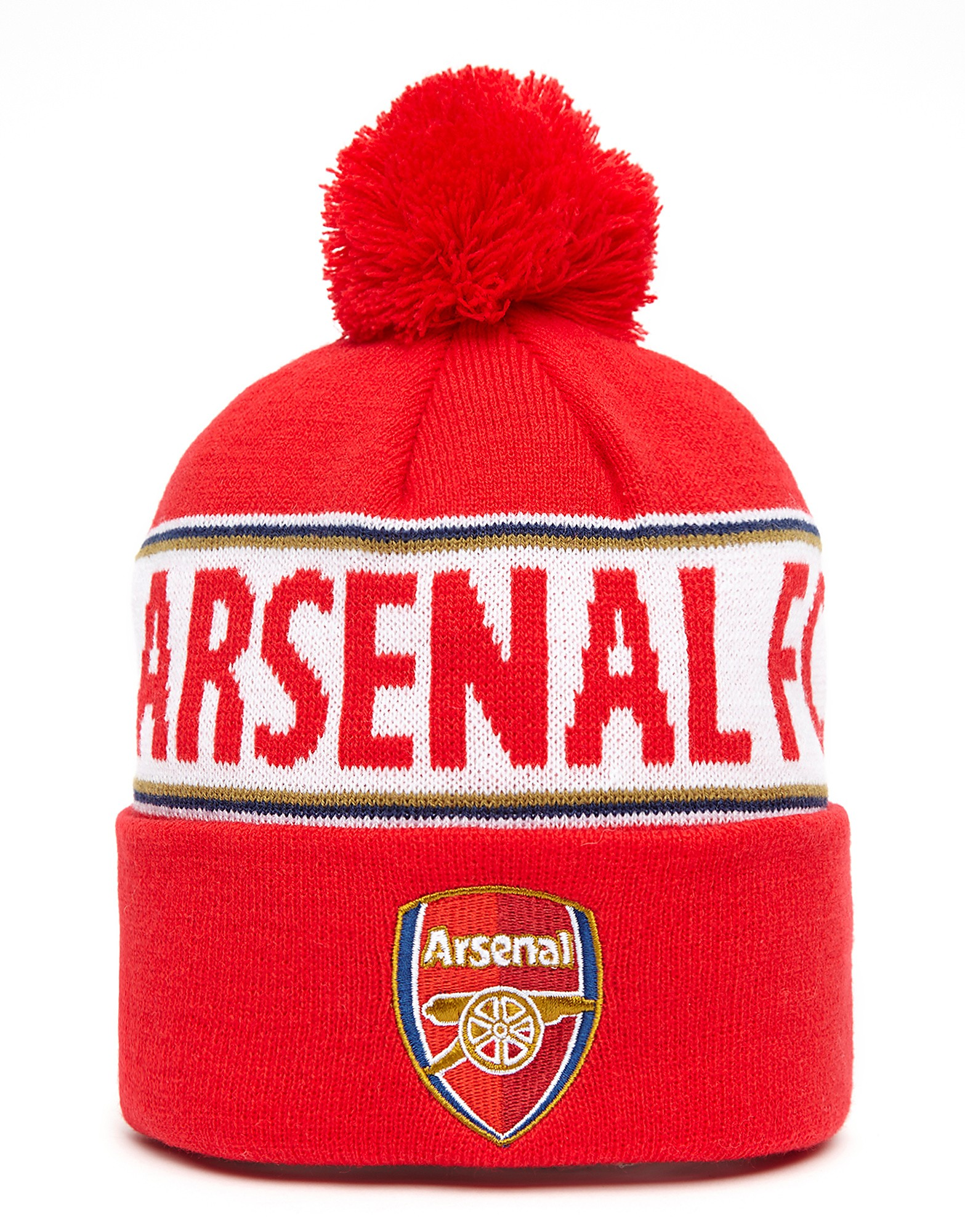 Official Team Arsenal FC Text Bobble Hat - Red/White - Mens, Red/White