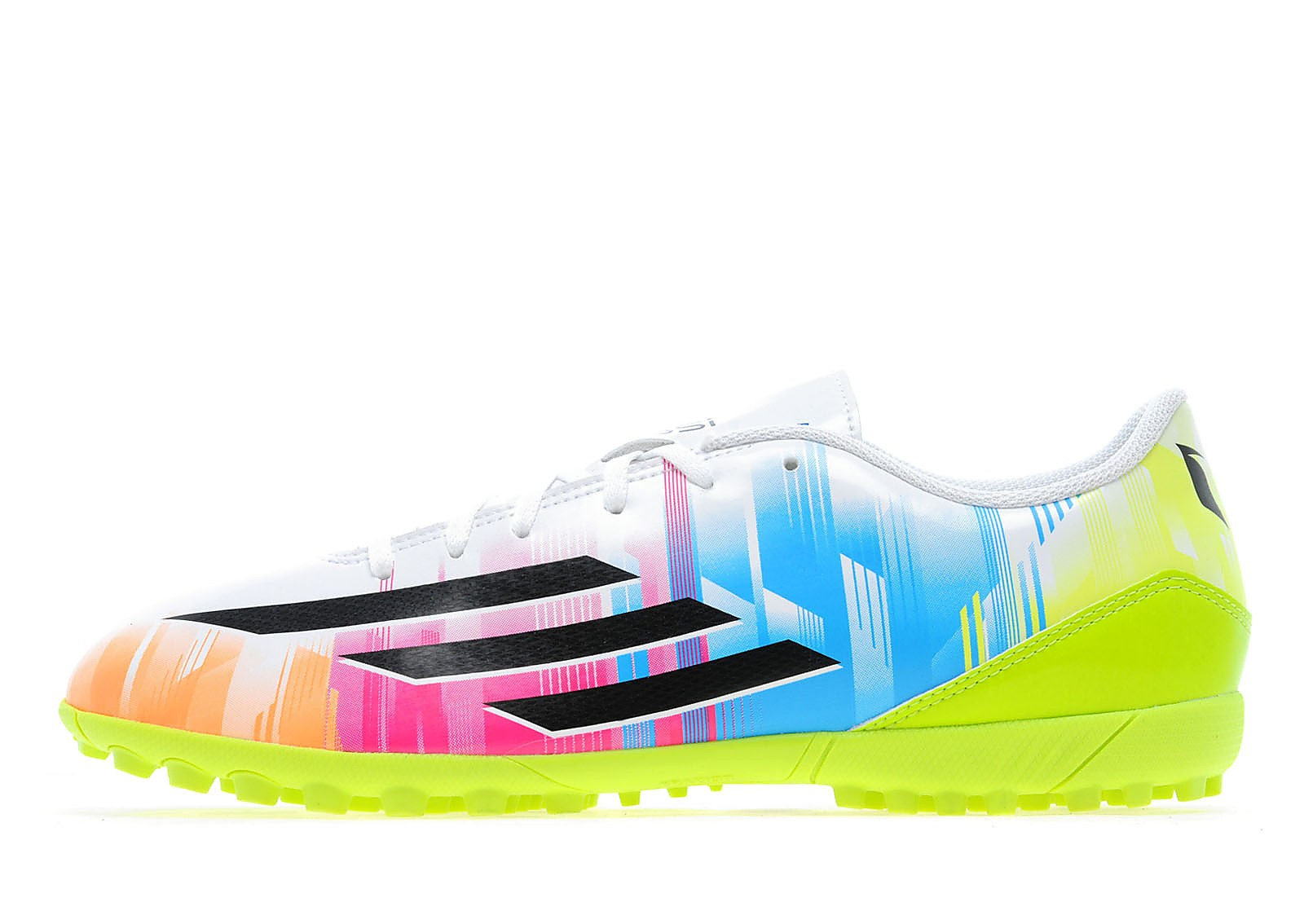 Mens F5 Messi Astro Turf White/Black/Solar Zest/Pure Cyan