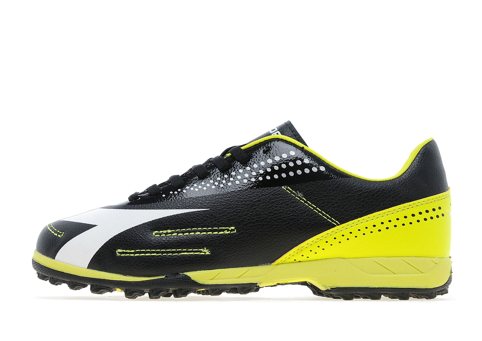 Kids Diadora Classic Astro Turf Junior Black/Fluo Yellow