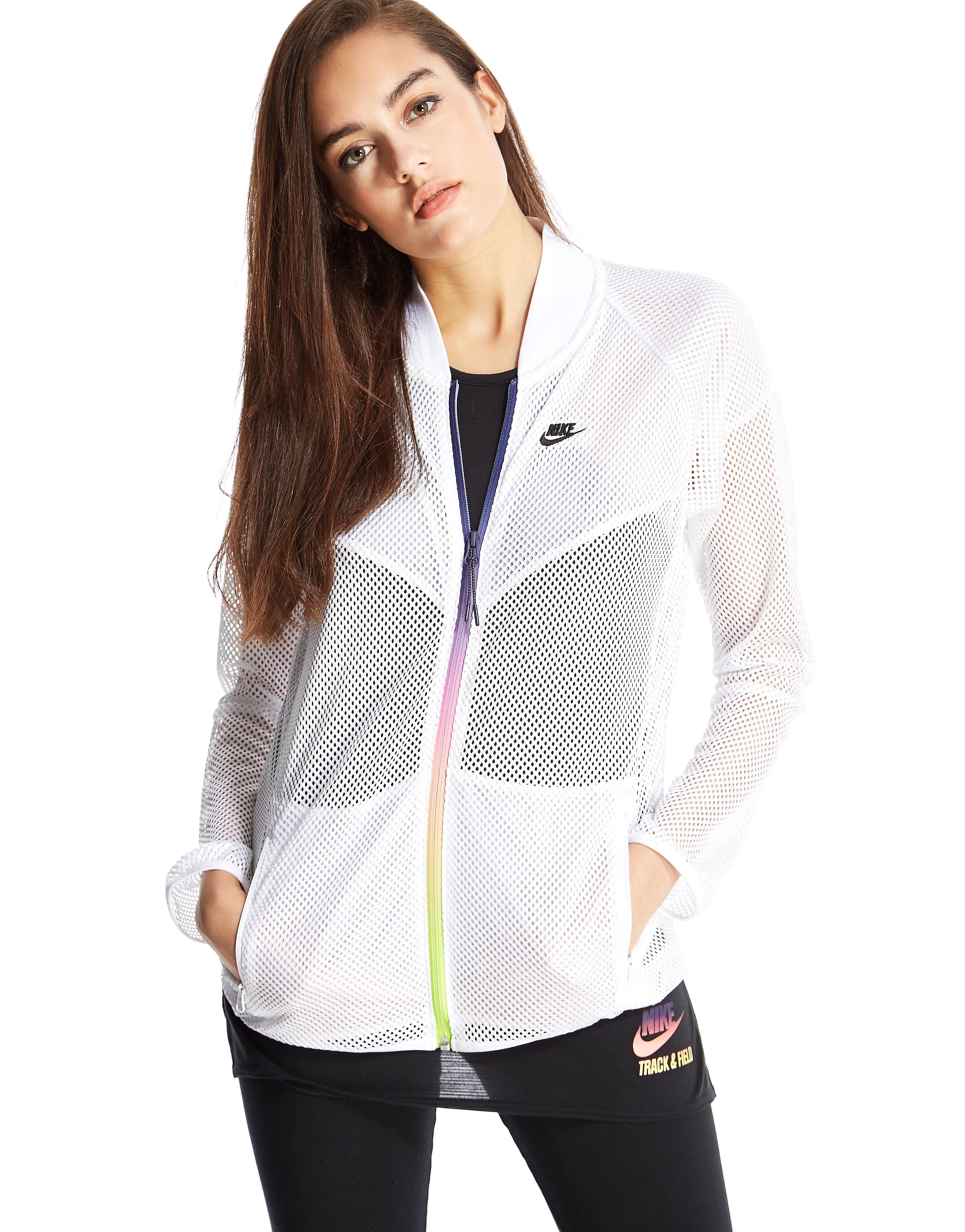 Nike Mesh Bomber Jacket - White - Womens, White
