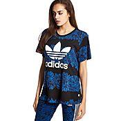 adidas Originals Blue Floral Printed T-Shirt