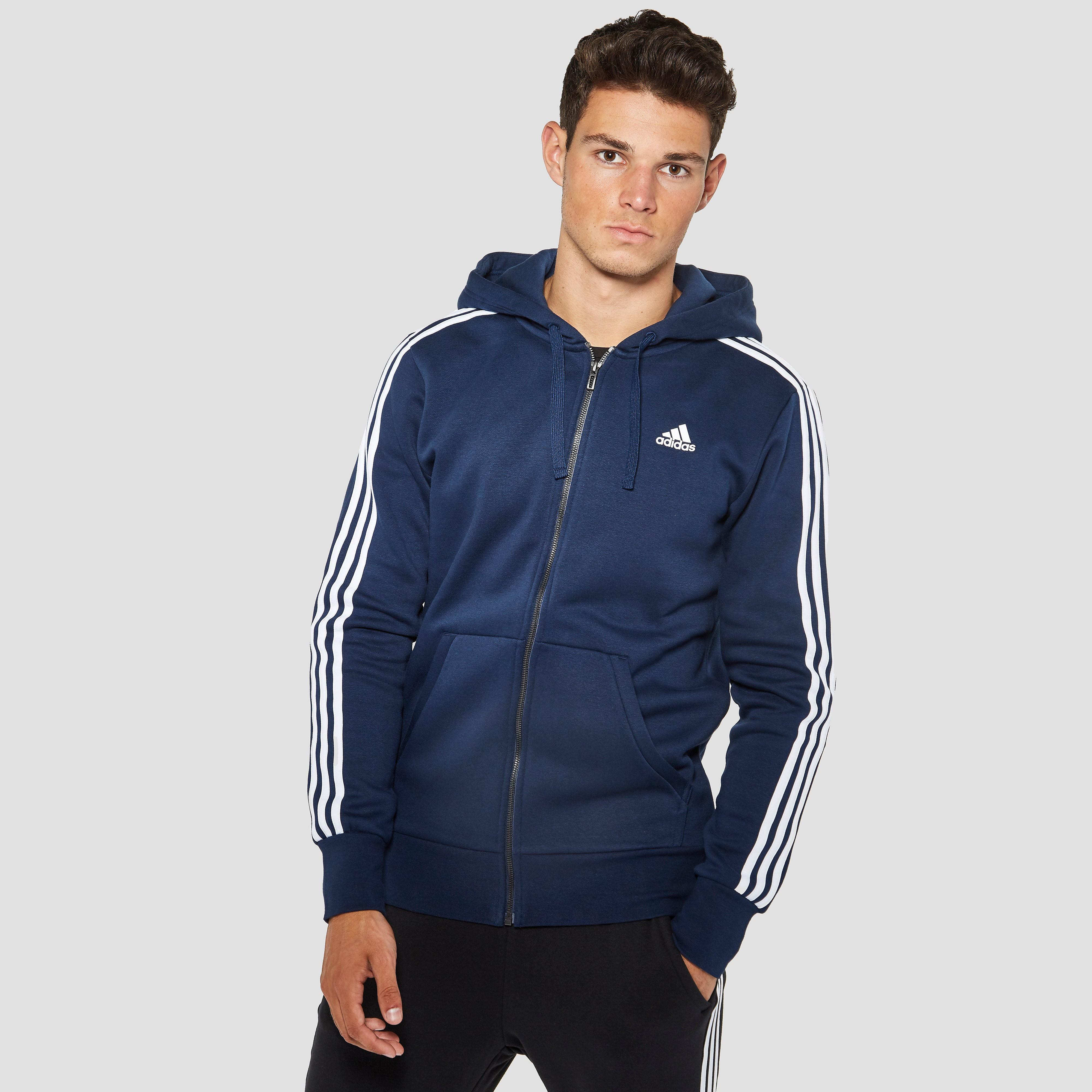 adidas Men's Essential 3 Stripe Fleece Hoody Navy S