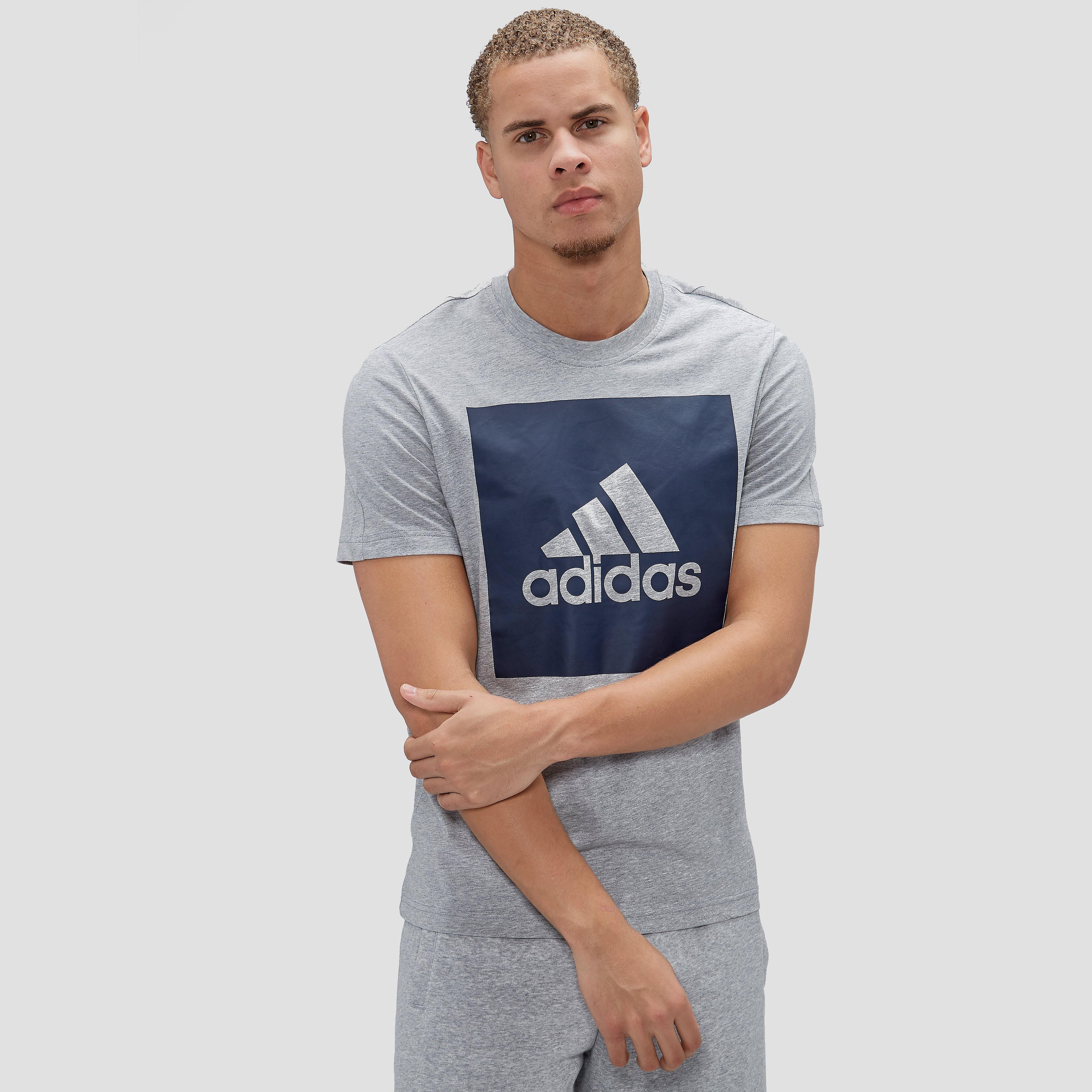 Adidas Essentials Big Box Logo men's training t-shirt (grey-dark blue) XL