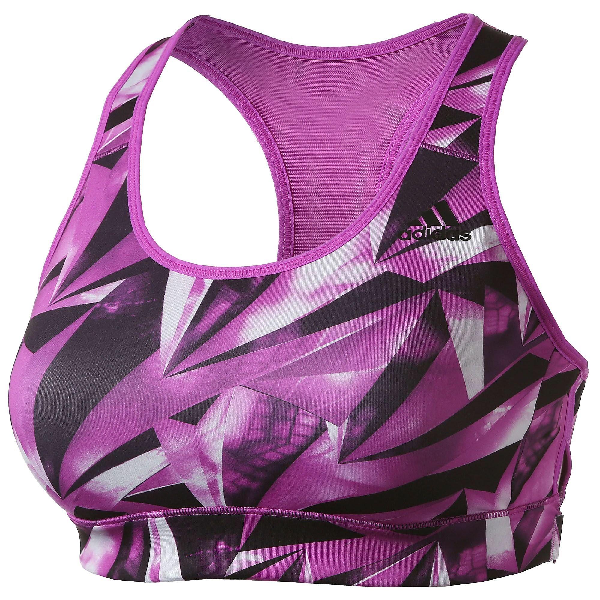 adidas Women's Print Training Racer Back Bra Purple M-AB
