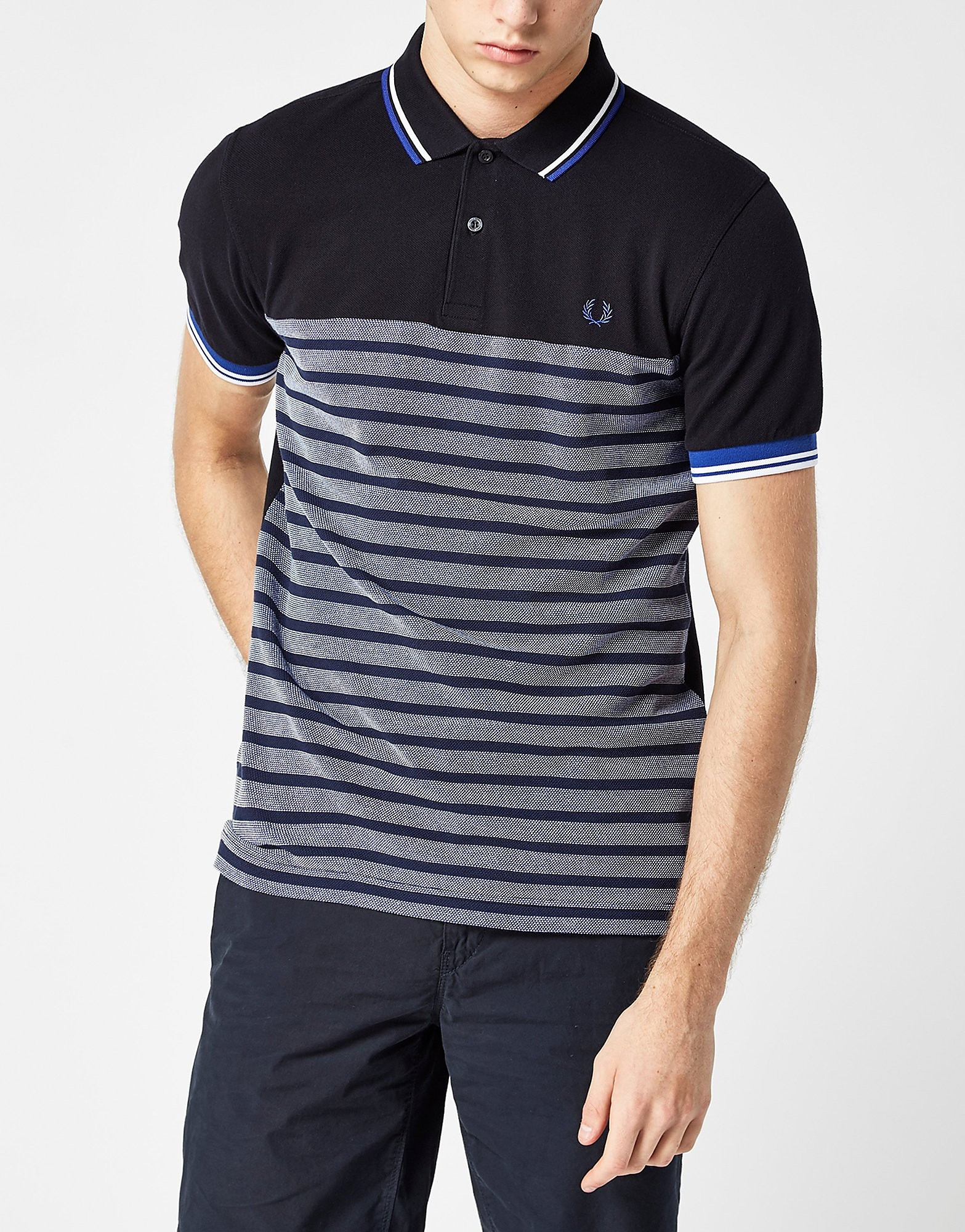 Fred Perry Oxford Stripe Polo Shirt  Blue Blue