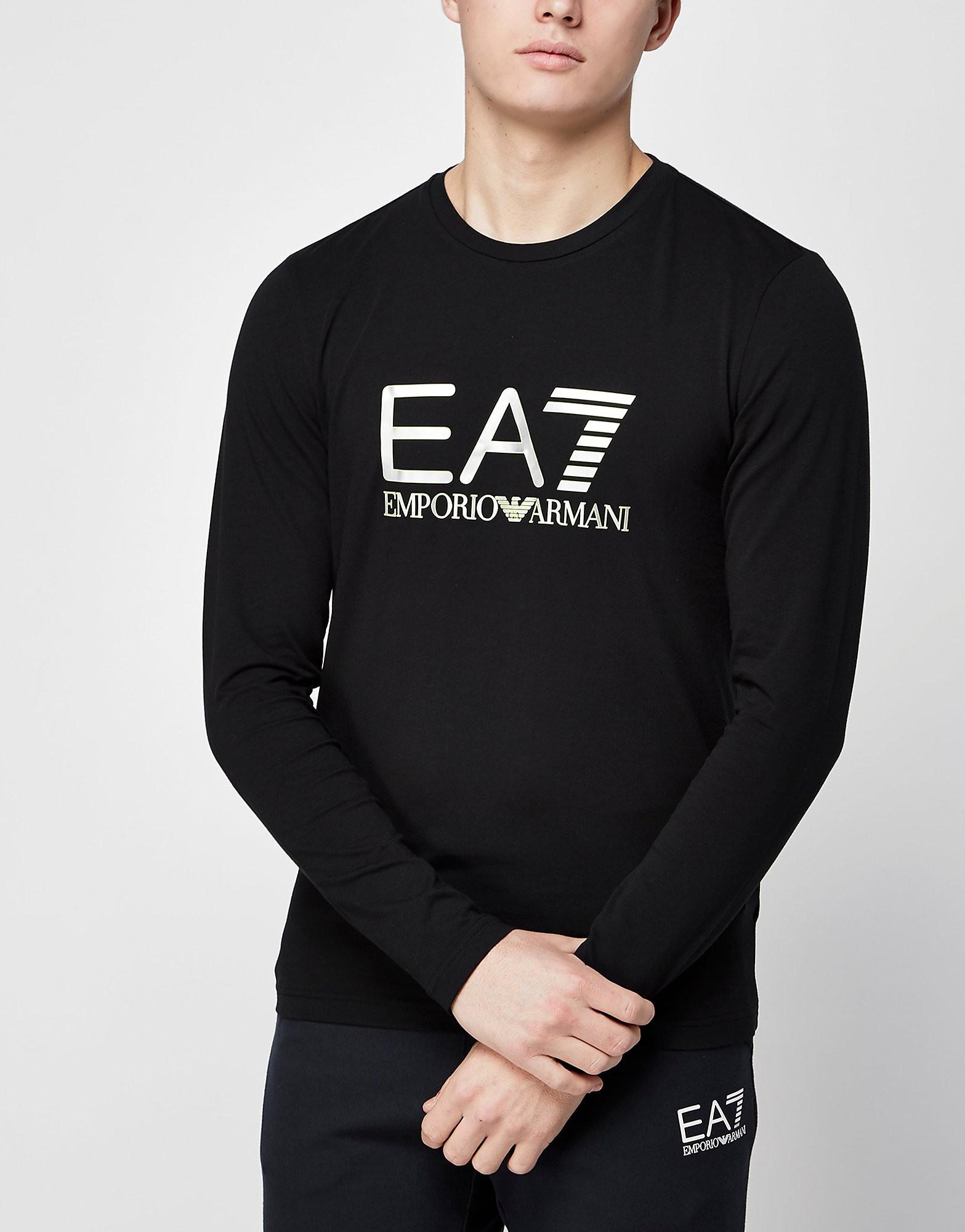 Emporio Armani EA7 Vis Logo Long Sleeve TShirt  Black Black
