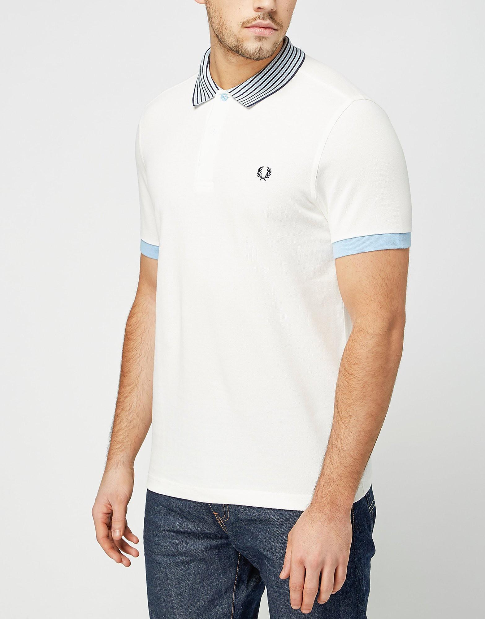 Fred Perry Stripe Collar Polo Shirt  White White