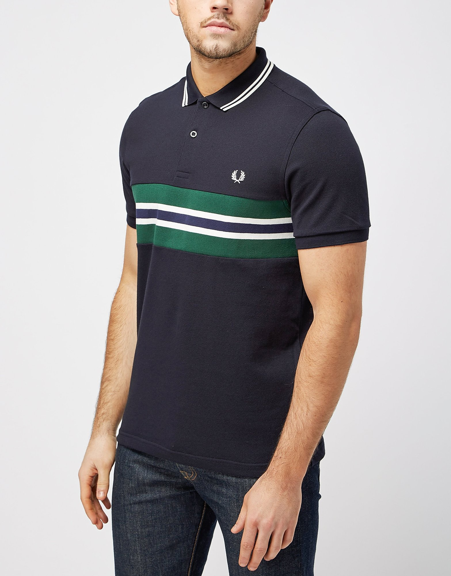 Fred Perry Stripe Insert Polo Shirt  Navy Navy