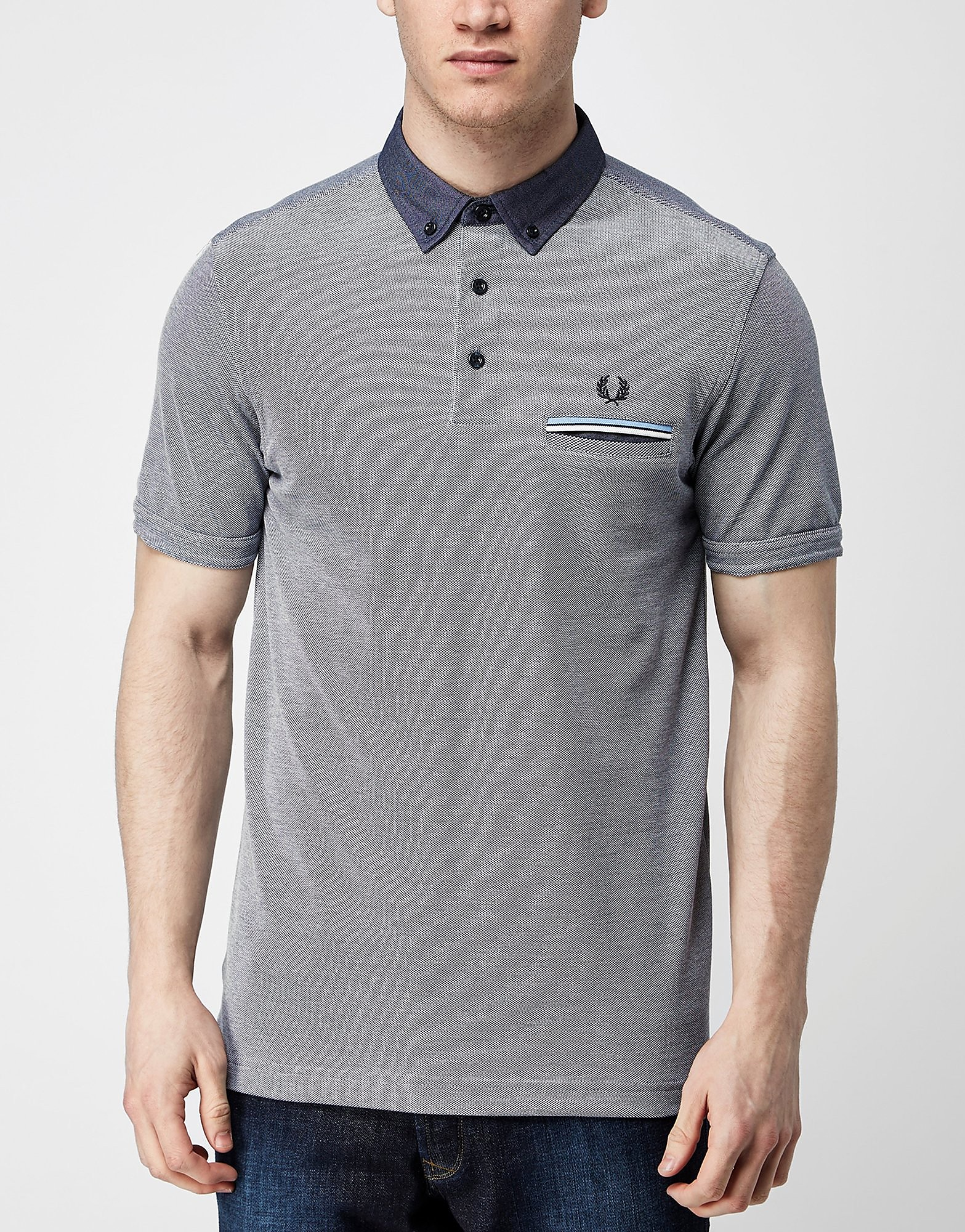 Fred Perry Woven Collar Oxford Polo Shirt  Blue Blue