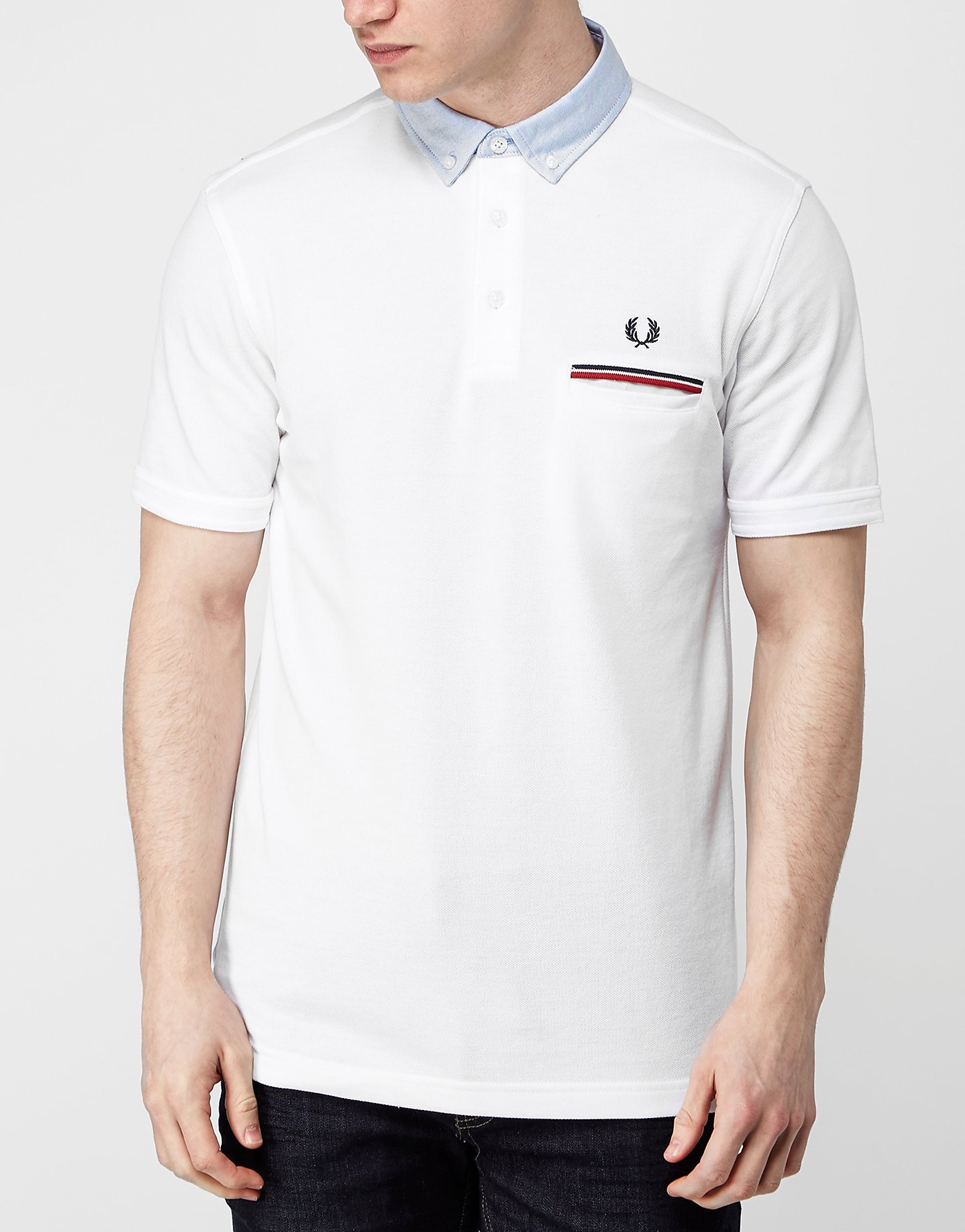 Fred Perry Woven Collar Oxford Polo Shirt  WhiteBlue WhiteBlue