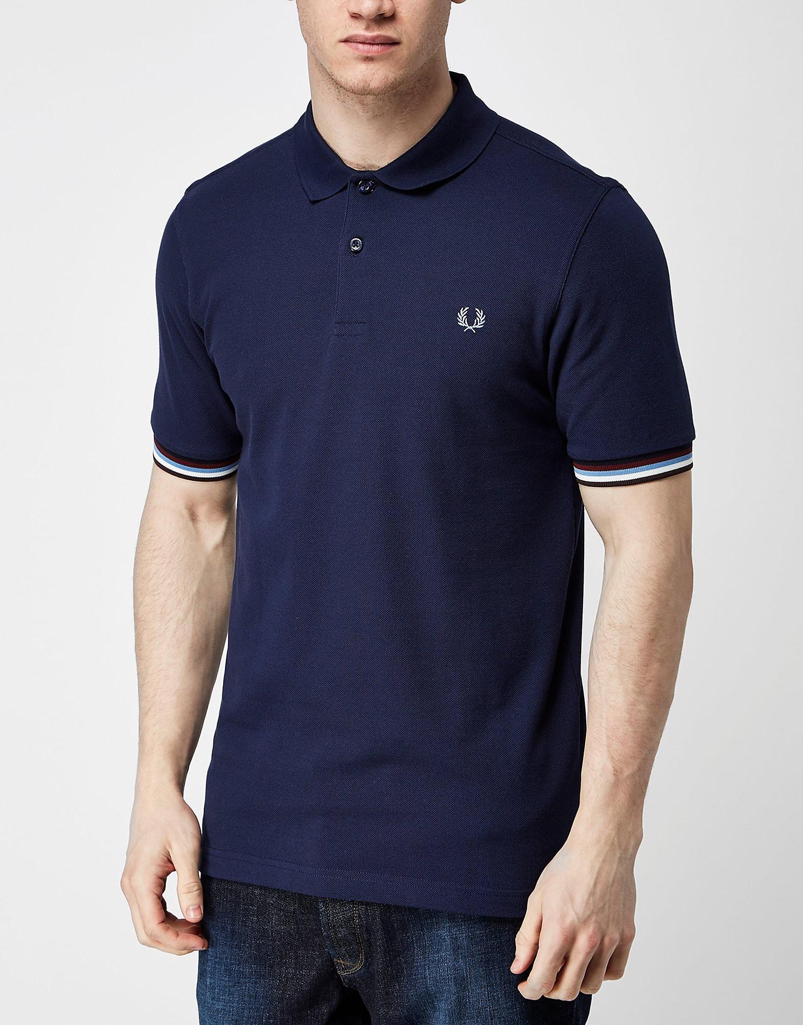 Fred Perry Bradley Wiggins Stripe Cuff Polo Shirt  Navy Navy