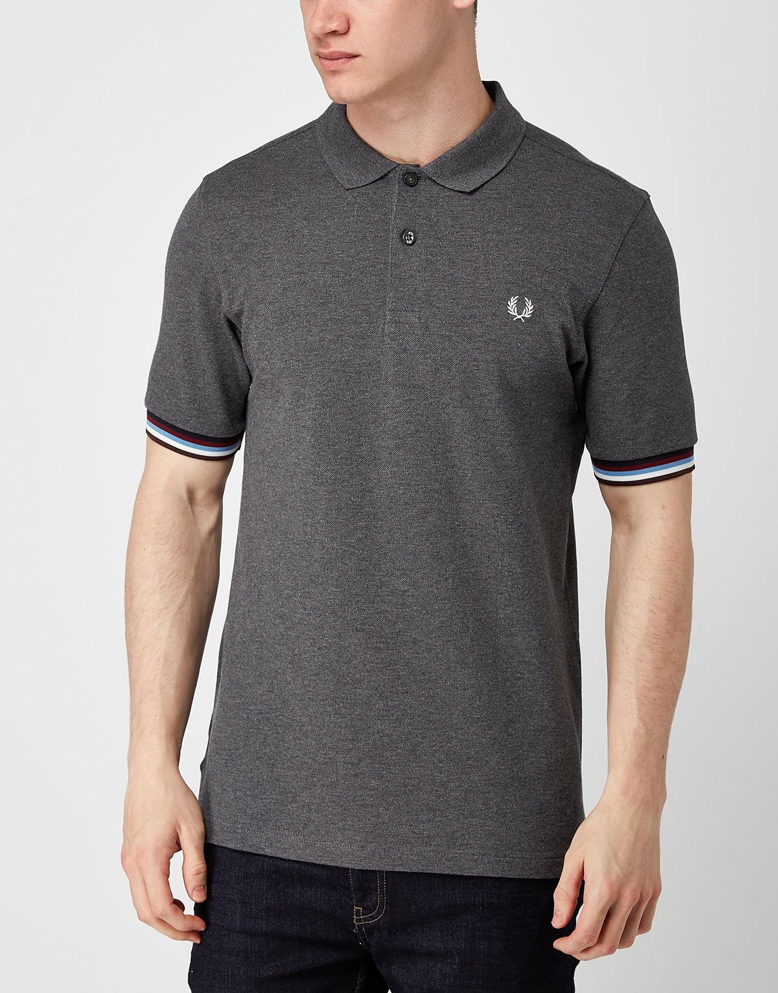 Fred Perry Bradley Wiggins Stripe Cuff Polo Shirt  Grey Grey