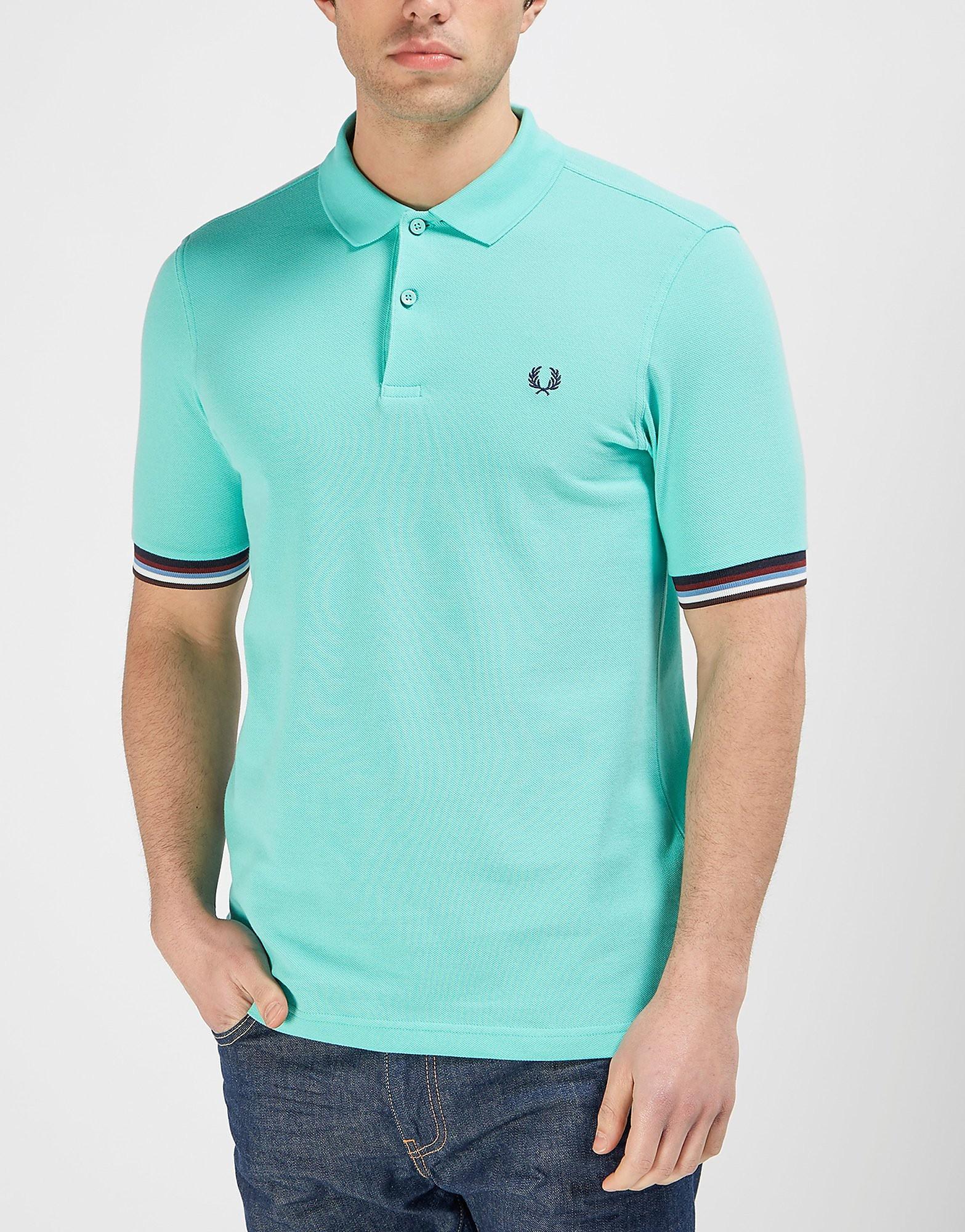Fred Perry Bradley Wiggins Stripe Cuff Polo Shirt  Green Green